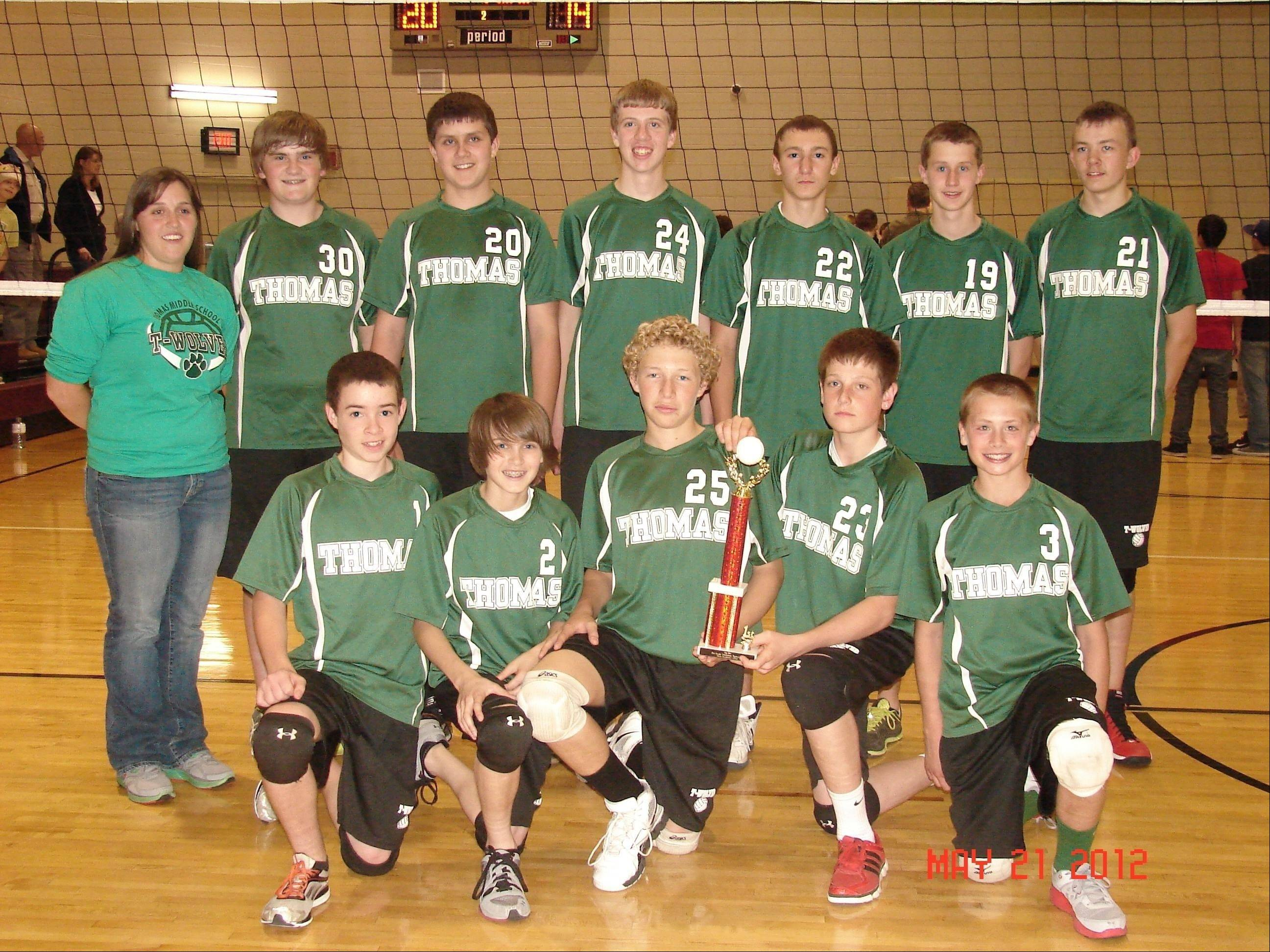 The Thomas Middle School boys volleyball team went undefeated for two consecutive years. Pictured, from left, are, first row: Kevin Cooke, Adam Schill, Brett Harris, Nolan Fortman and Matt Johnson; second row: Coach Kate Renno, Brian Lynch, Angelo Coniglio, Ryan Bayerle, Joey Pinakidis, Nick Winter and Connor Burhop.