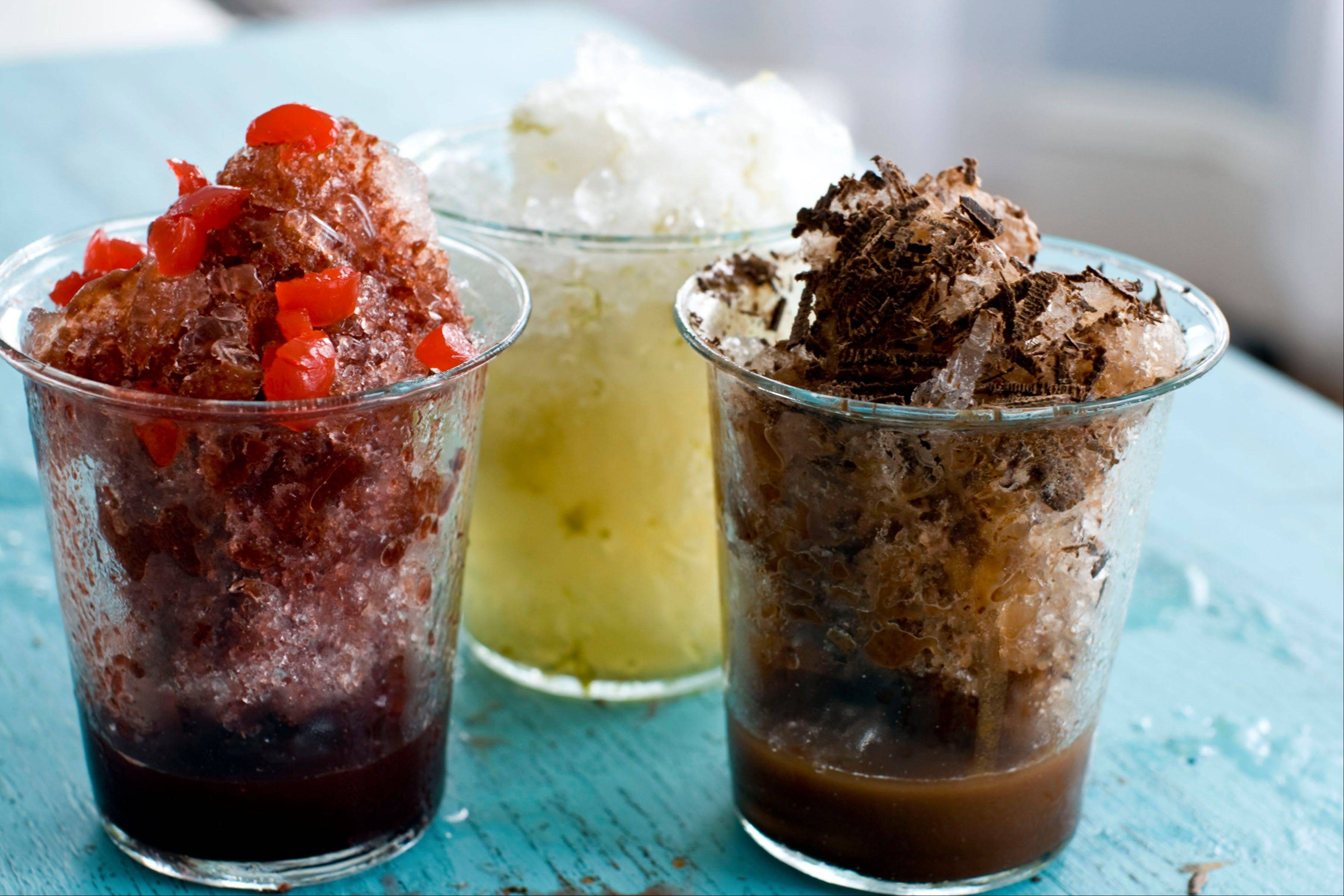 Cherry Cola Shaved Ice, left, Mocha Shaved Ice, right, and Coconut-Lime Shaved Ice