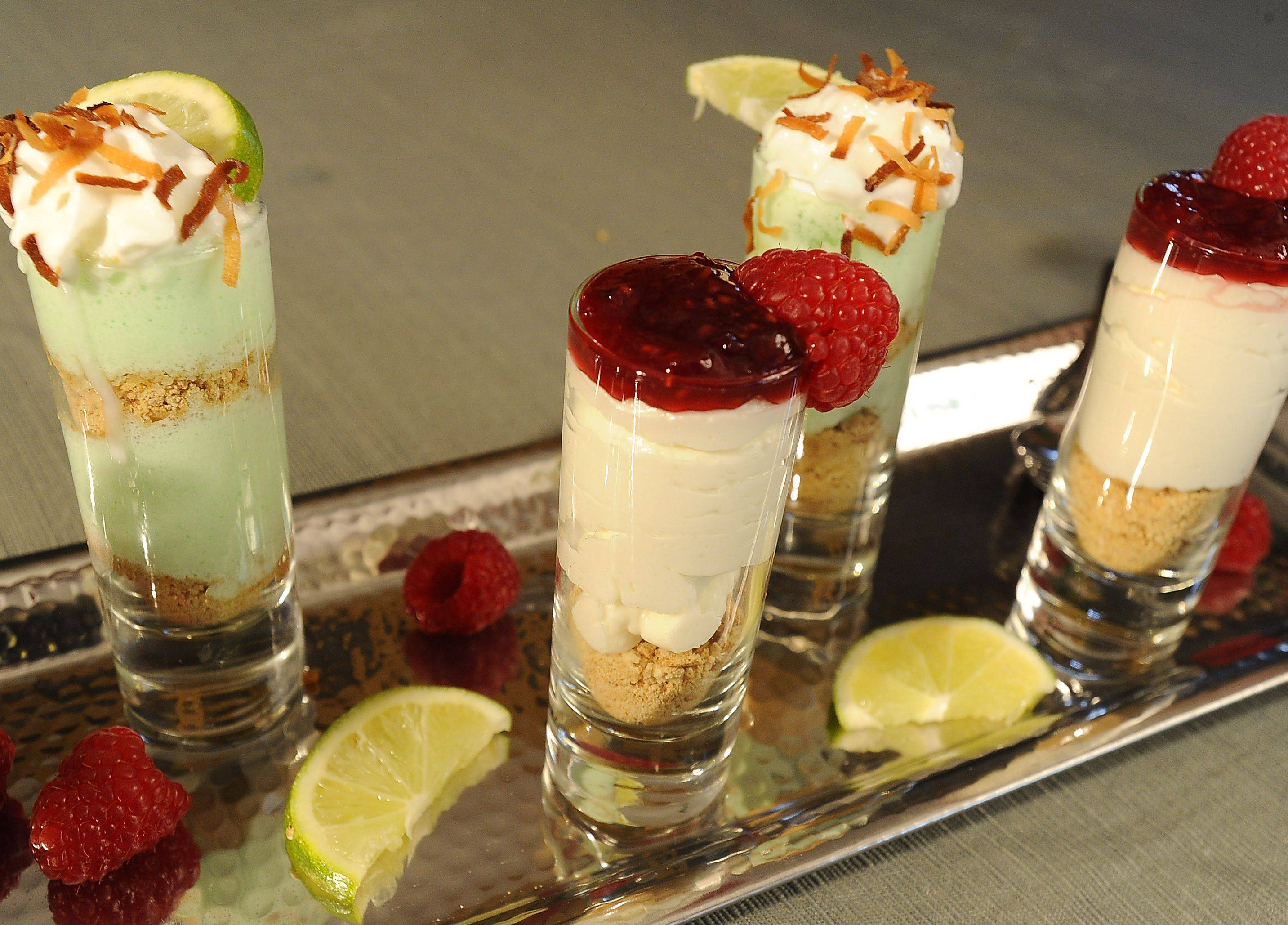 Courtney Czarnik likes creating individual desserts like these raspberry cheesecake and Key lime pie parfaits.