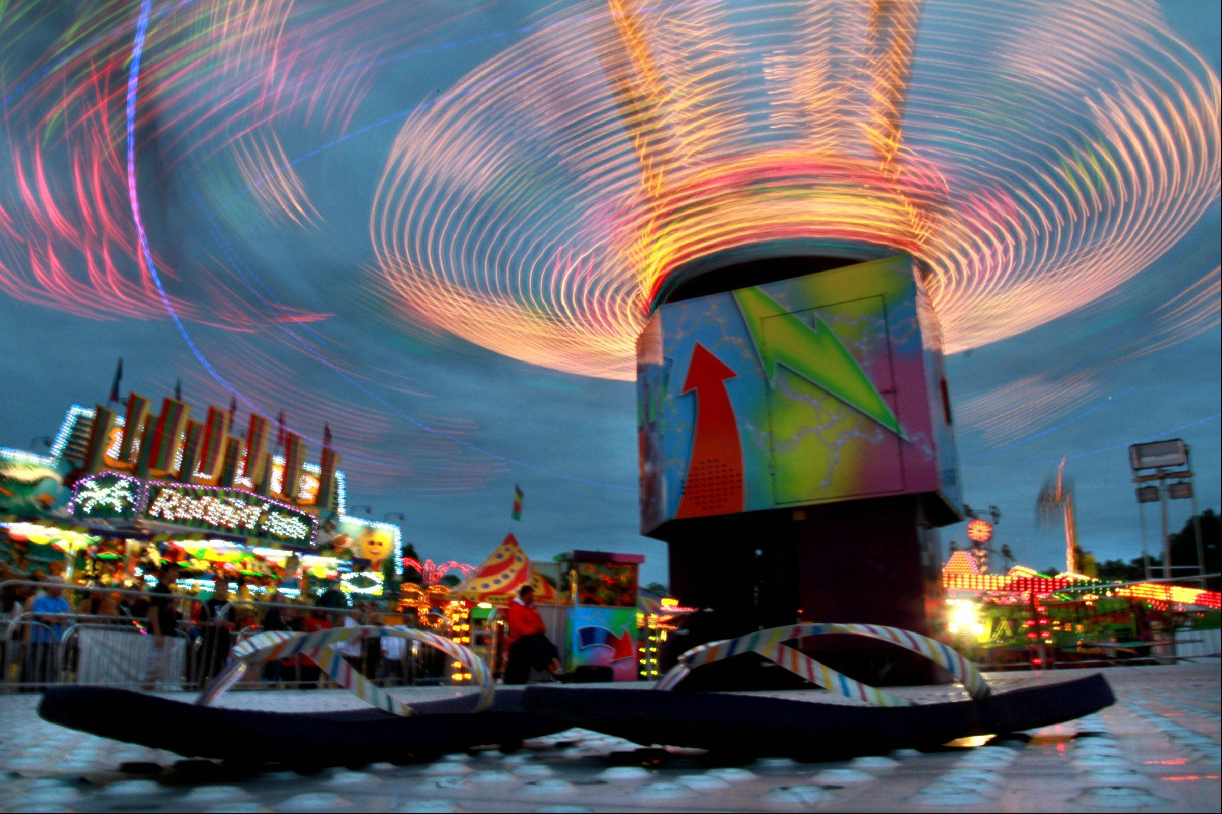 Rides light up the sky at last year's Wauconda Fest.