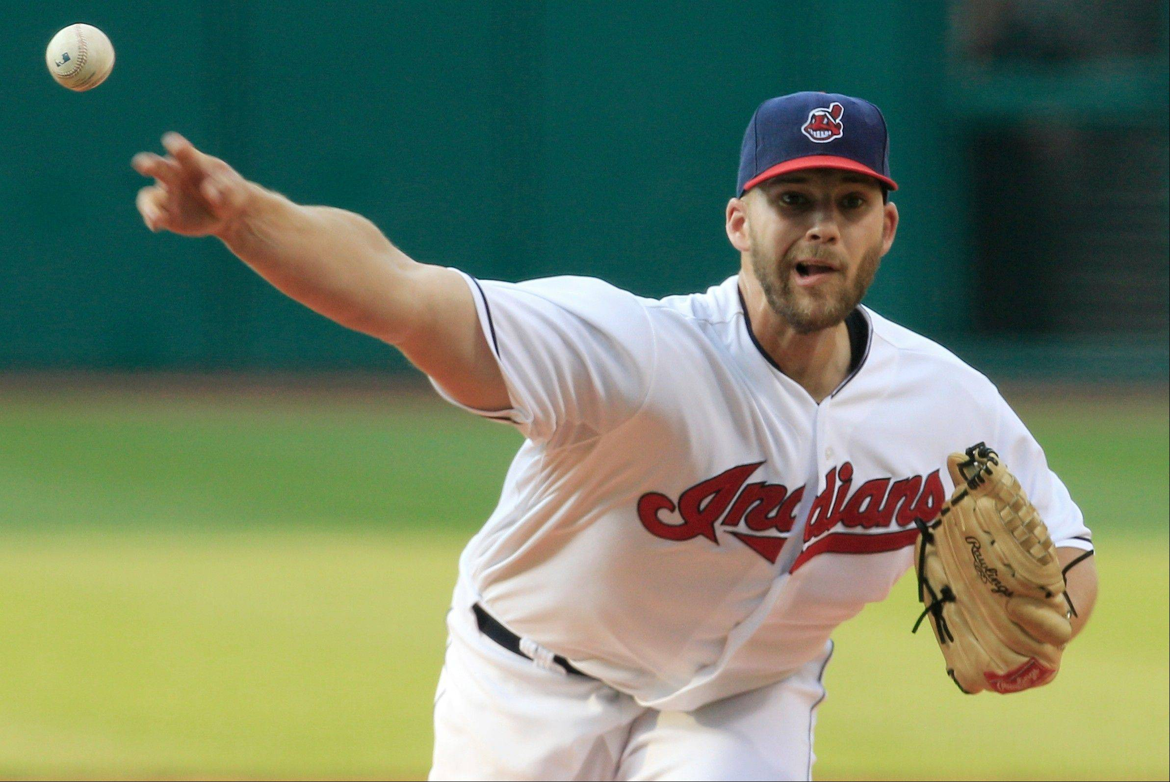 Cleveland's Justin Masterson took a shutout into the eighth inning Wednesday at home against the Reds.