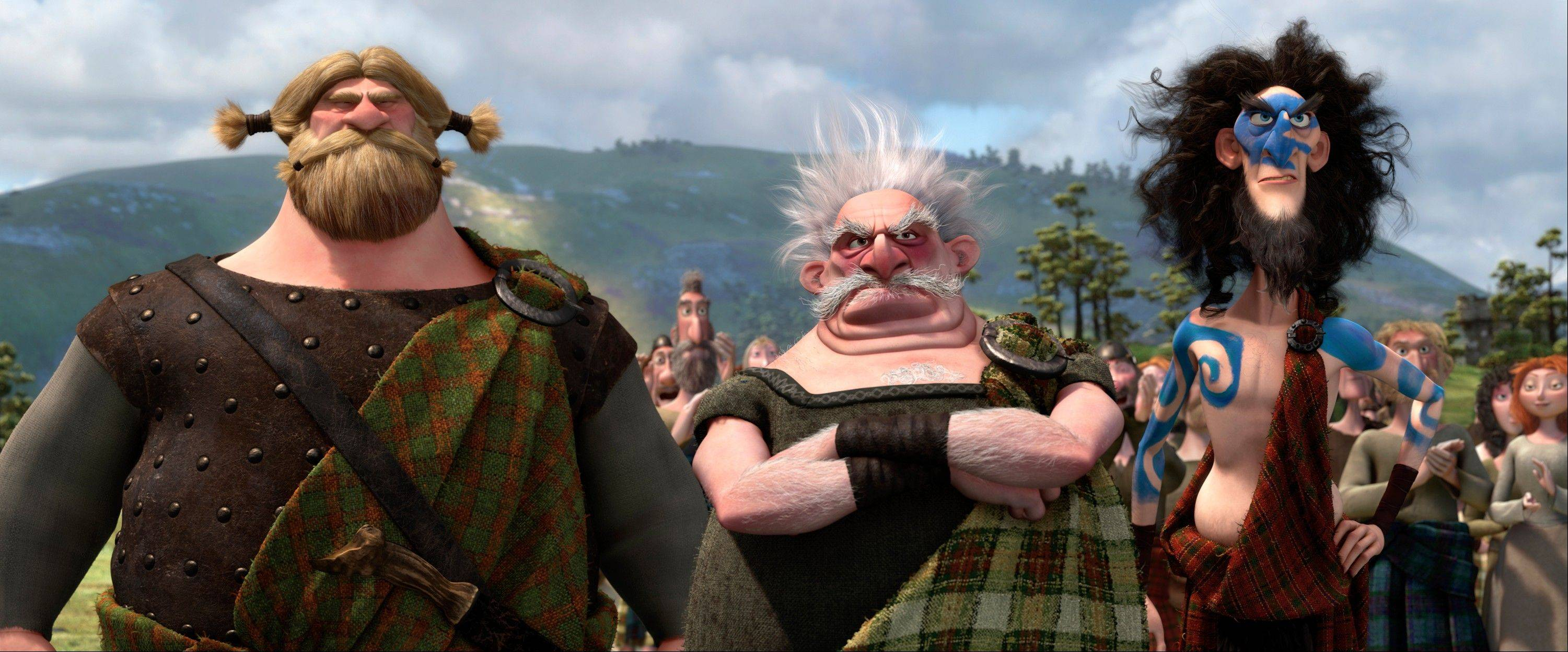 "Lord MacGuffin (voiced by Kevin McKidd), Lord Dingwal (voiced by Robbie Coltrane) and Lord MacIntosh (voiced by Craig Ferguson) hunt for a daughter-in-law in Pixar's ""Brave."""