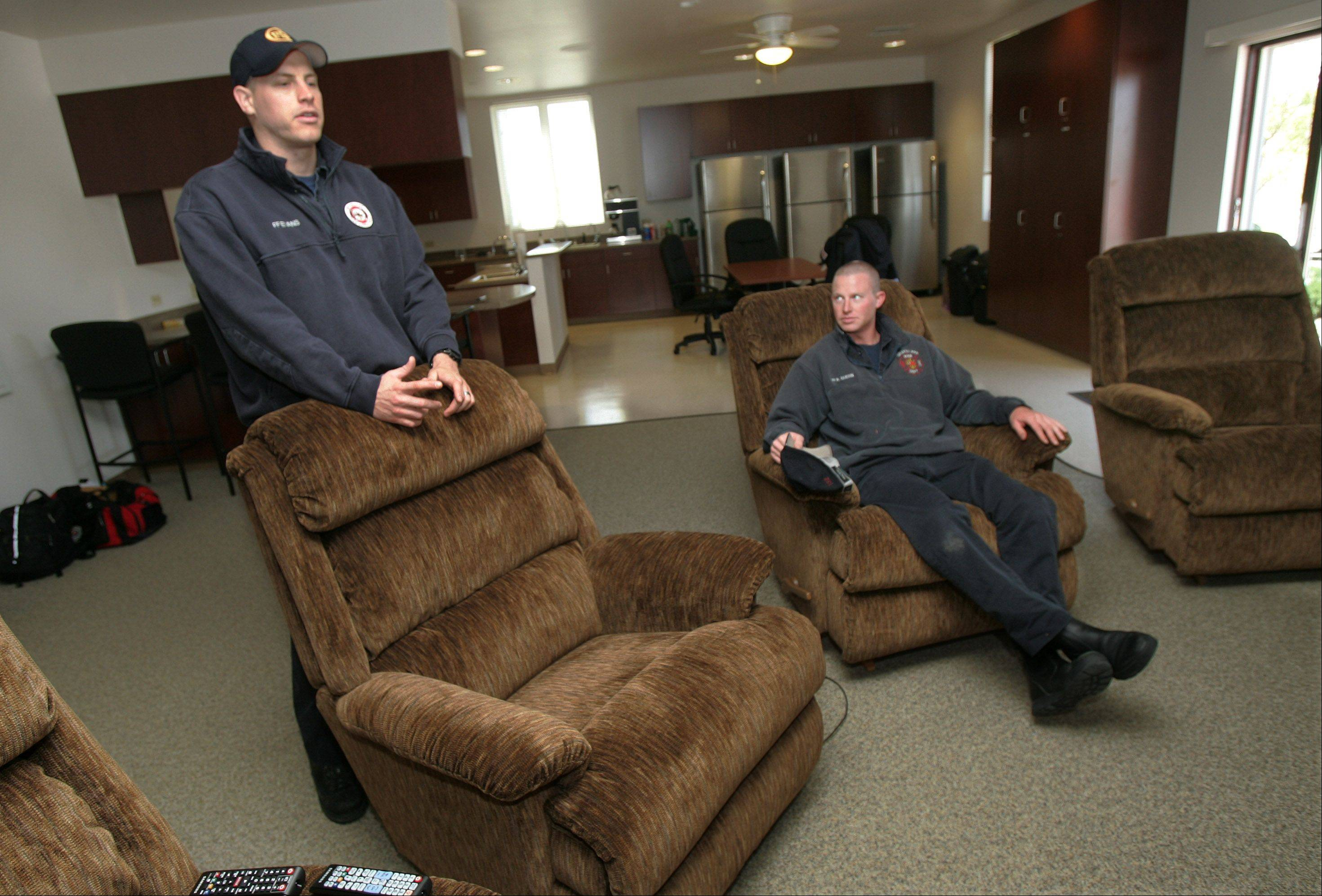 Firefighters Isaac Evans, left, and Ross Guerin recently talked about their first day at Grayslake Fire Protection District's new third station near Route 60 and Peterson Road.