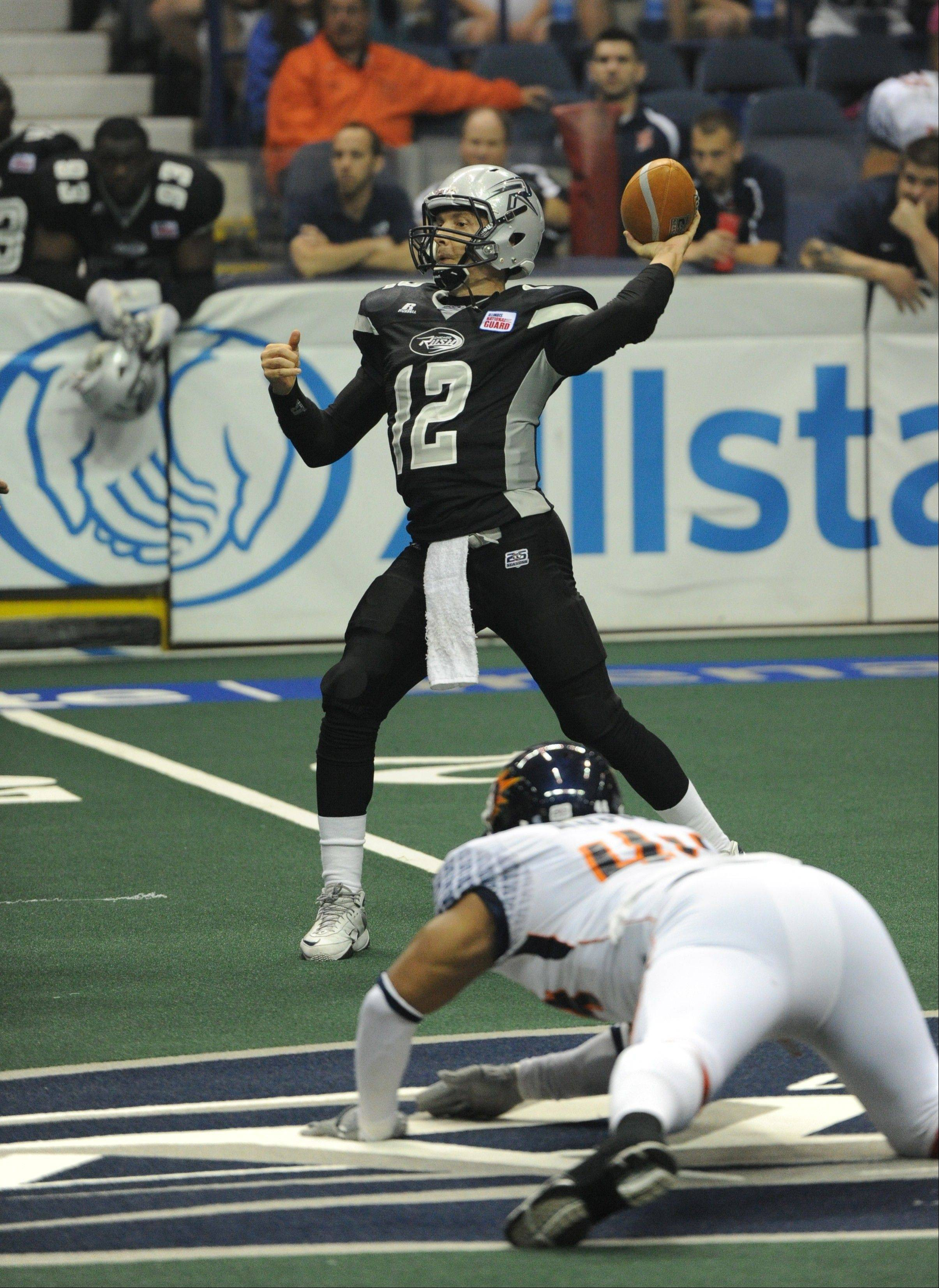 Chicago Rush quarterback Russ Michna is having his best season ever in the AFL, and he leads the league in passing efficiency.