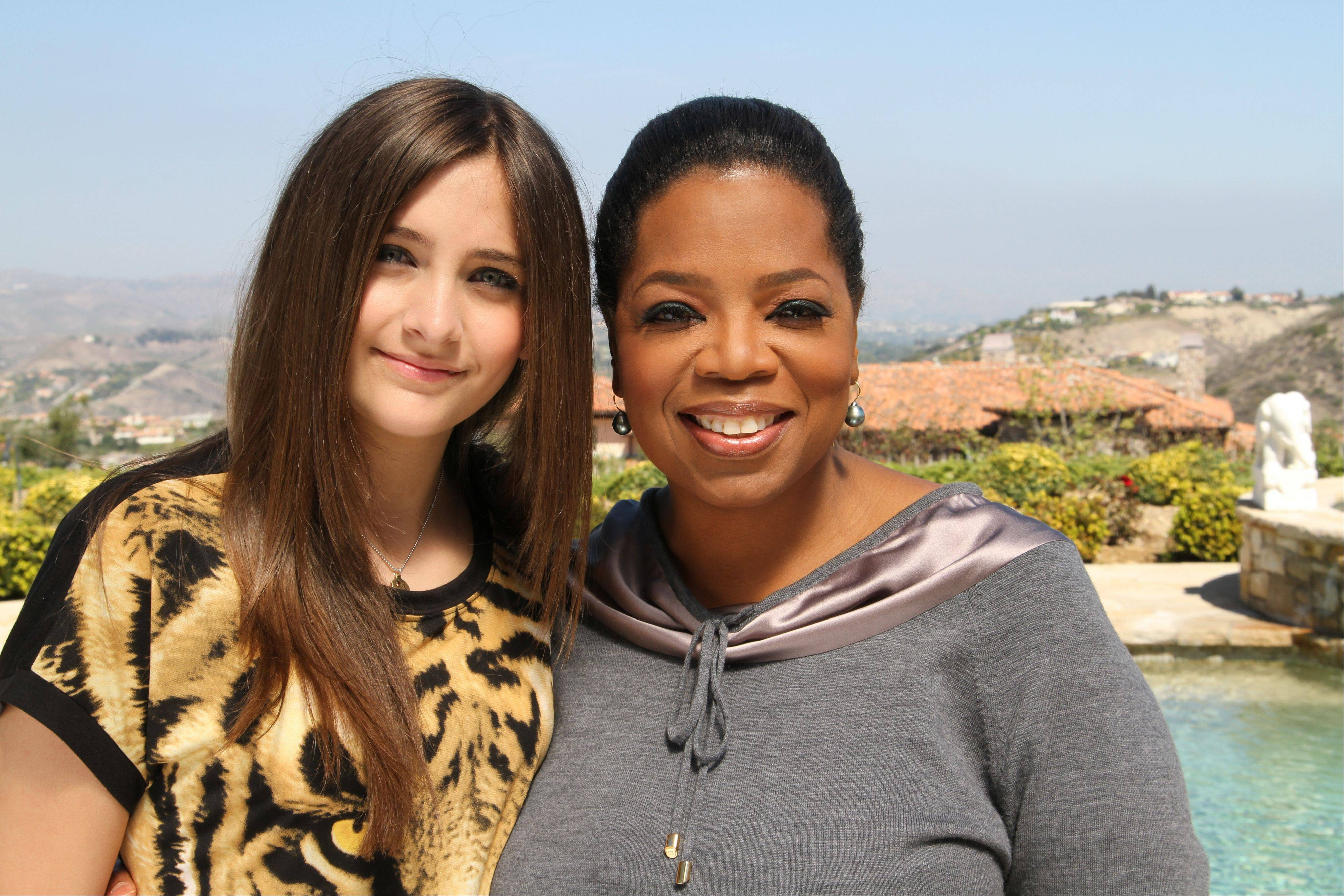 "Oprah Winfrey with Paris Jackson, daughter of the late pop icon Michael Jackson in Los Angeles. Winfrey interviewed Jackson for an ""Oprah's Next Chapter"" special."