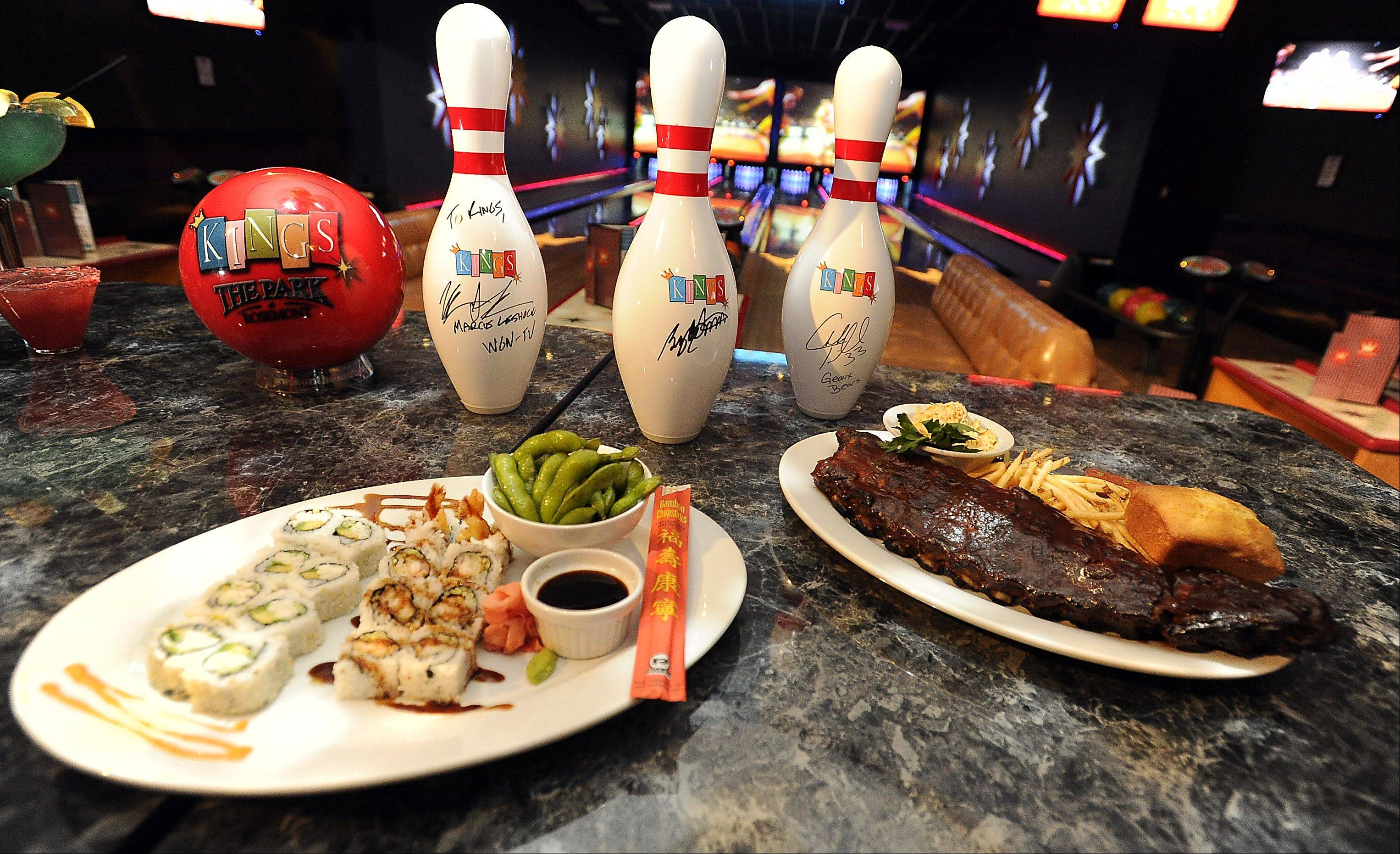 Kings Lanes in Rosemont serves up food options like the house smoked baby back ribs and the sushi sampler.