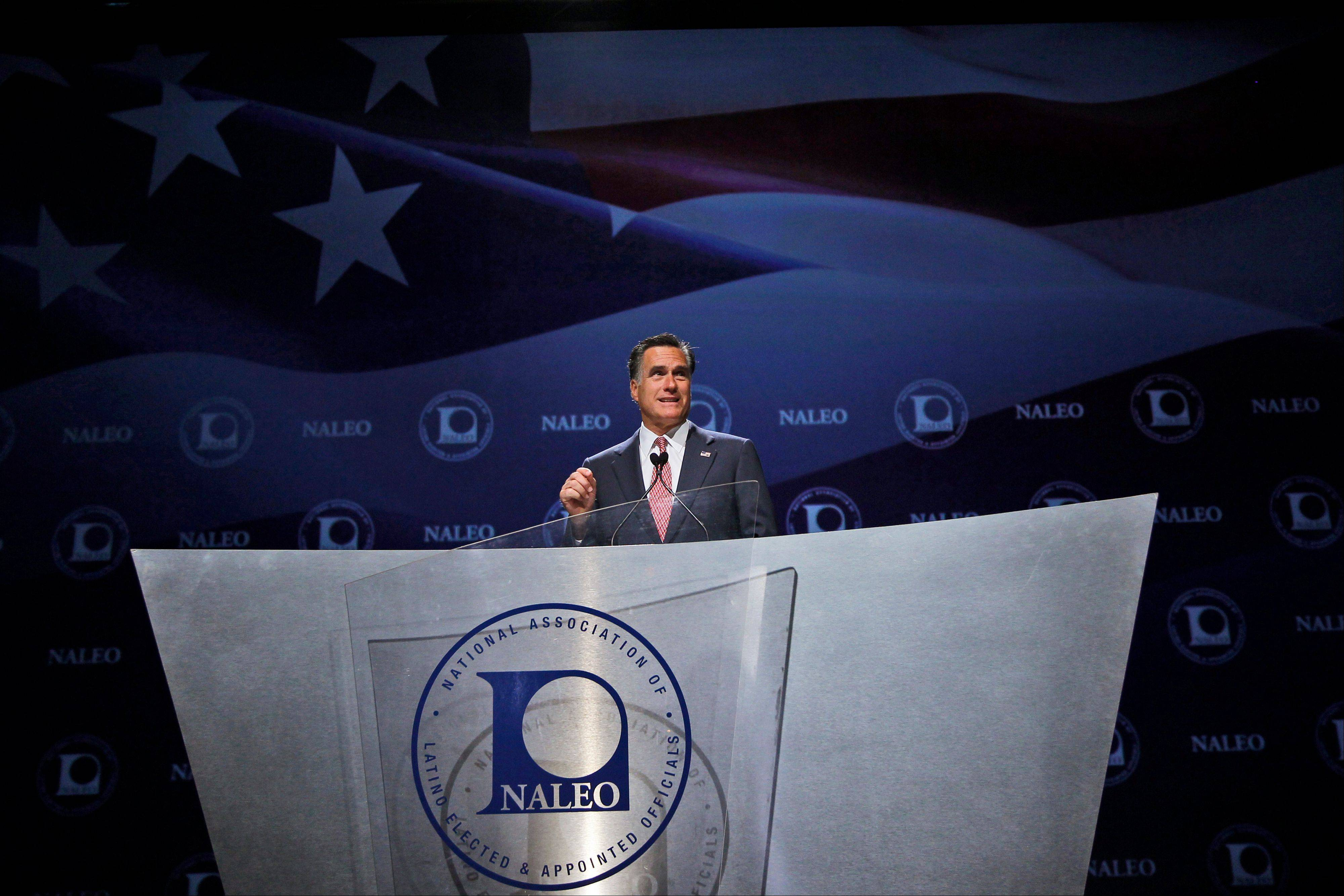 Republican presidential candidate, former Massachusetts Gov. Mitt Romney, speaks at the NALEO (National Association of Latino Elected and Appointed Officials) conference in Orlando, Fla., Thursday, June 21, 2012.