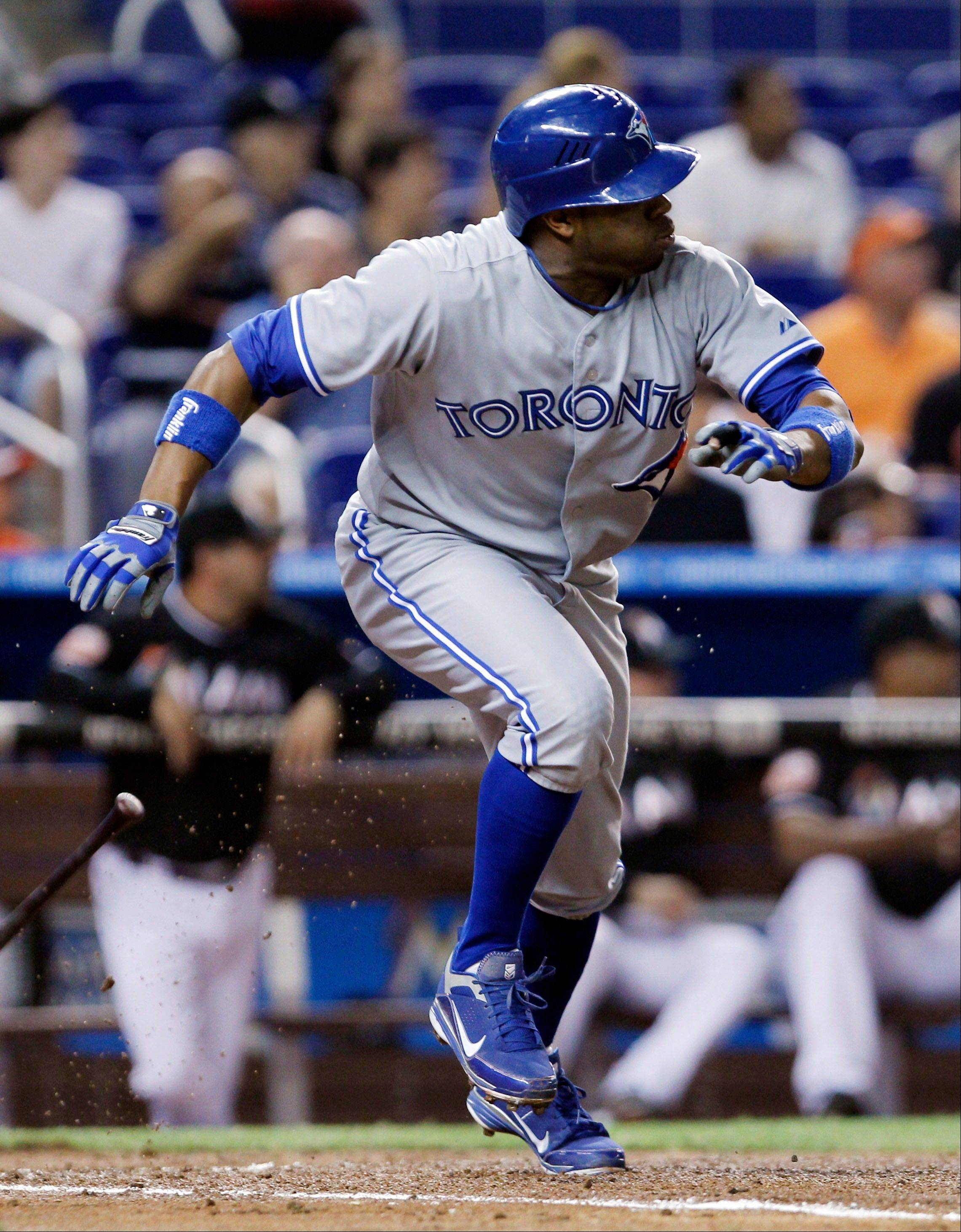 The Toronto Blue Jays' Rajai Davis leaves the batter's box on a second-inning double Friday against the Miami Marlins in Miami.