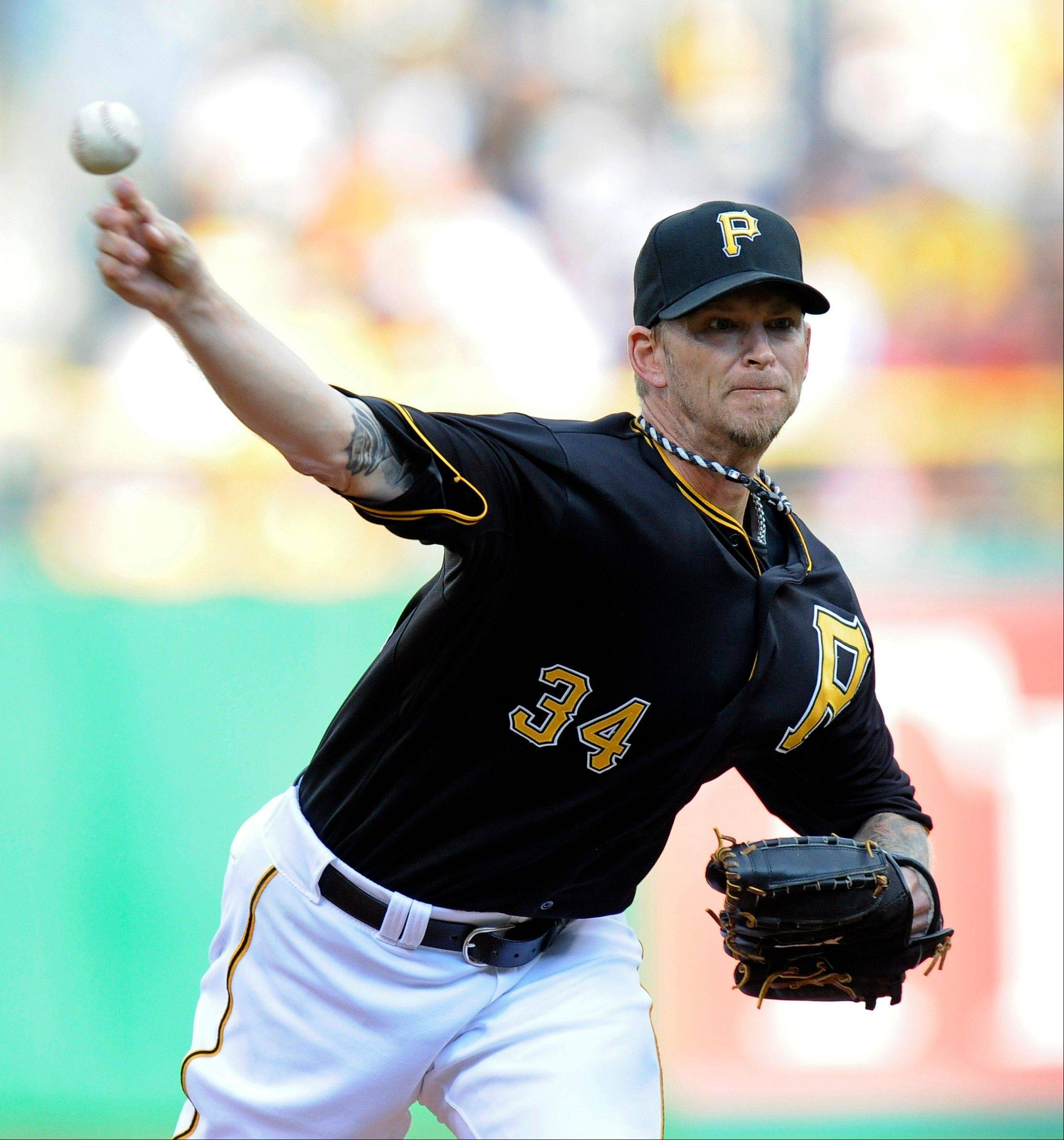 Pittsburgh Pirates starter A.J. Burnett delivers a pitch Friday against the Detroit Tigers in Pittsburgh.