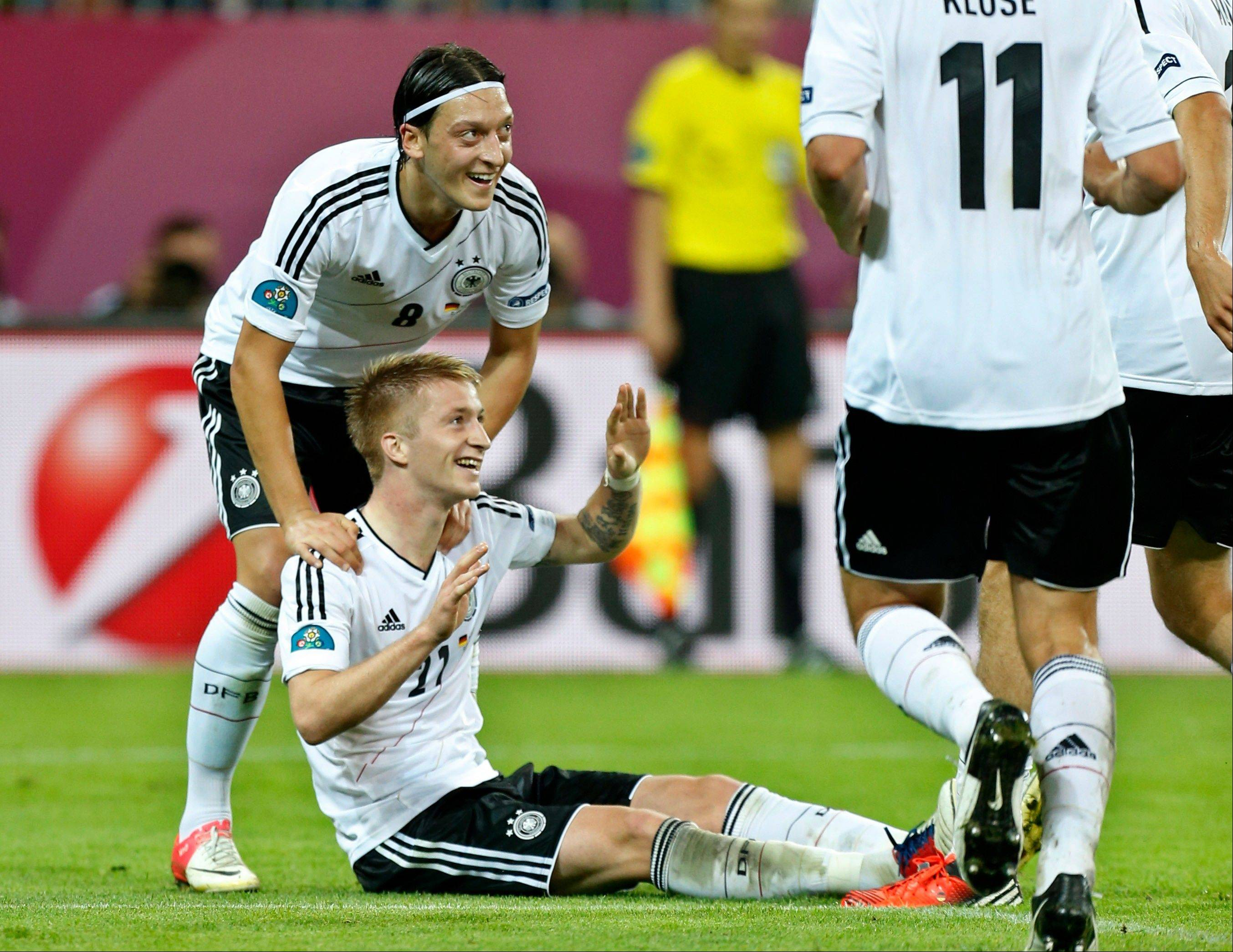 Germany's Marco Reus reacts Friday after he scored his team's fourth goal during a Euro 2012 quarterfinal match between Germany and Greece in Gdansk, Poland.
