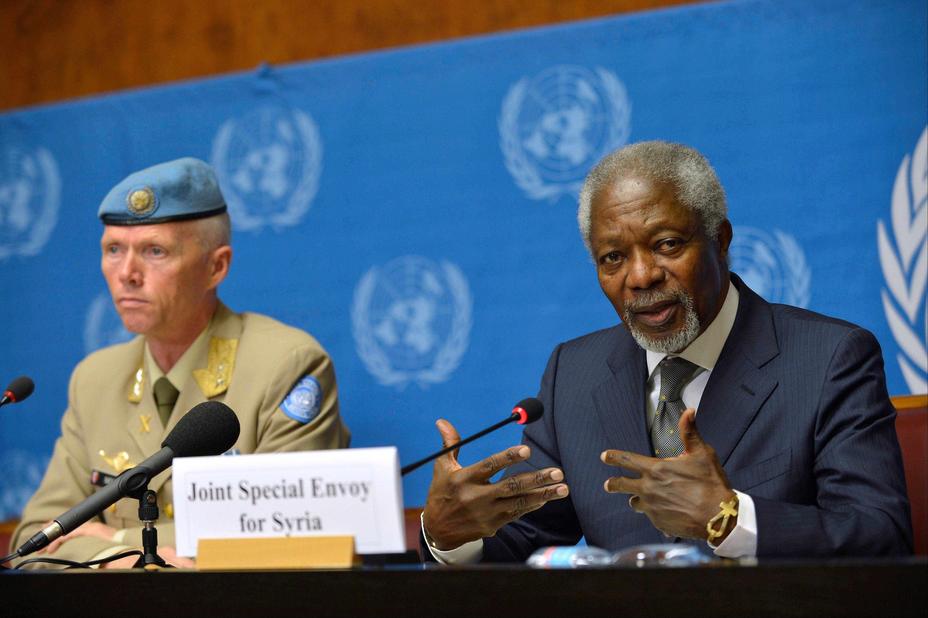 Kofi Annan, right, Joint Special Envoy of the United Nations and the Arab League for Syria, and Major-General Robert Mood, left, head of the U.N. Supervision Mission in Syria and Chief Military Observer, look on during a news briefing Friday at the United Nations in Geneva, Switzerland. Annan said he continues to hold out hope that his six-point peace plan might succeed eventually in Syria.