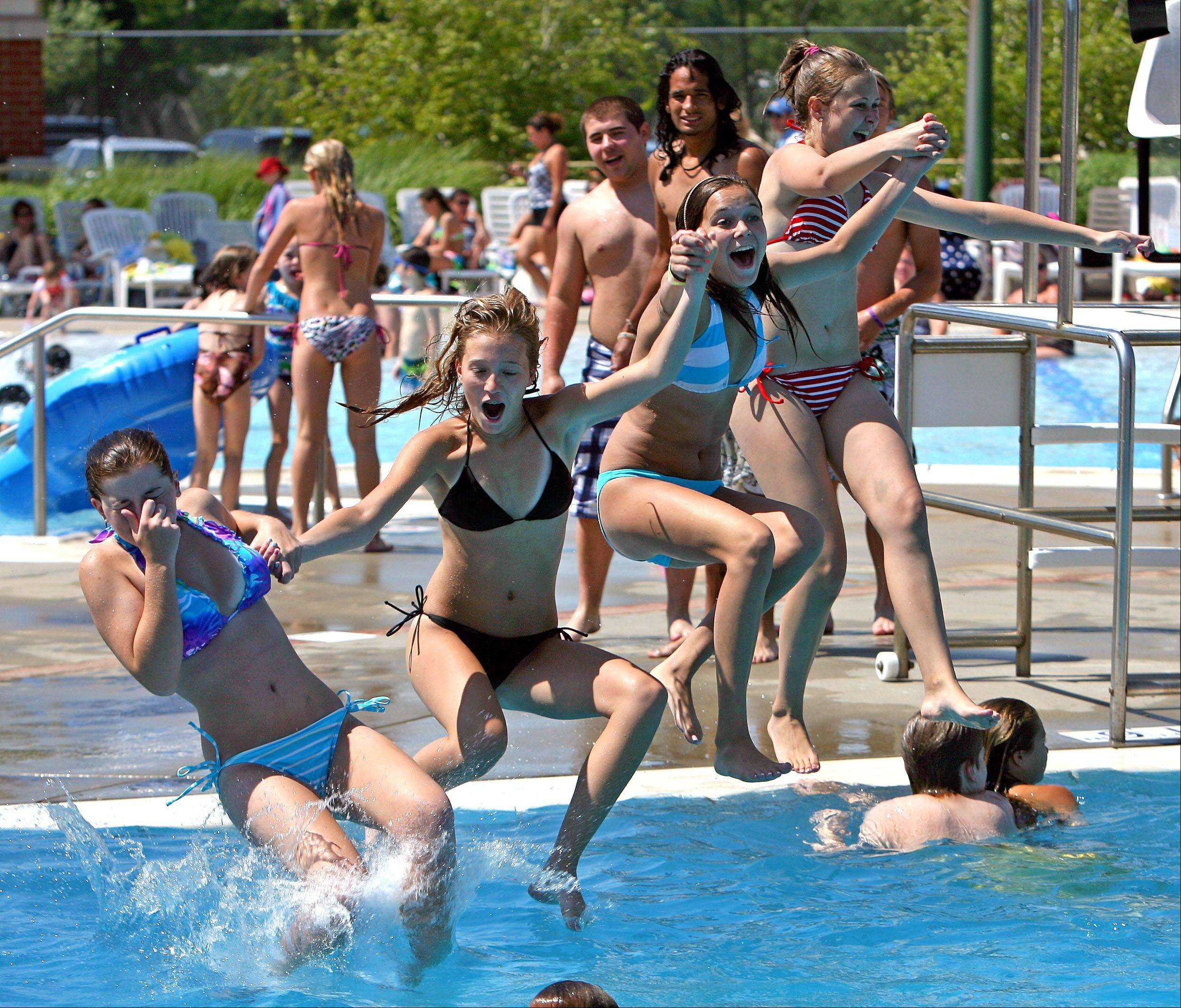 People cool off at the Grayslake pool.