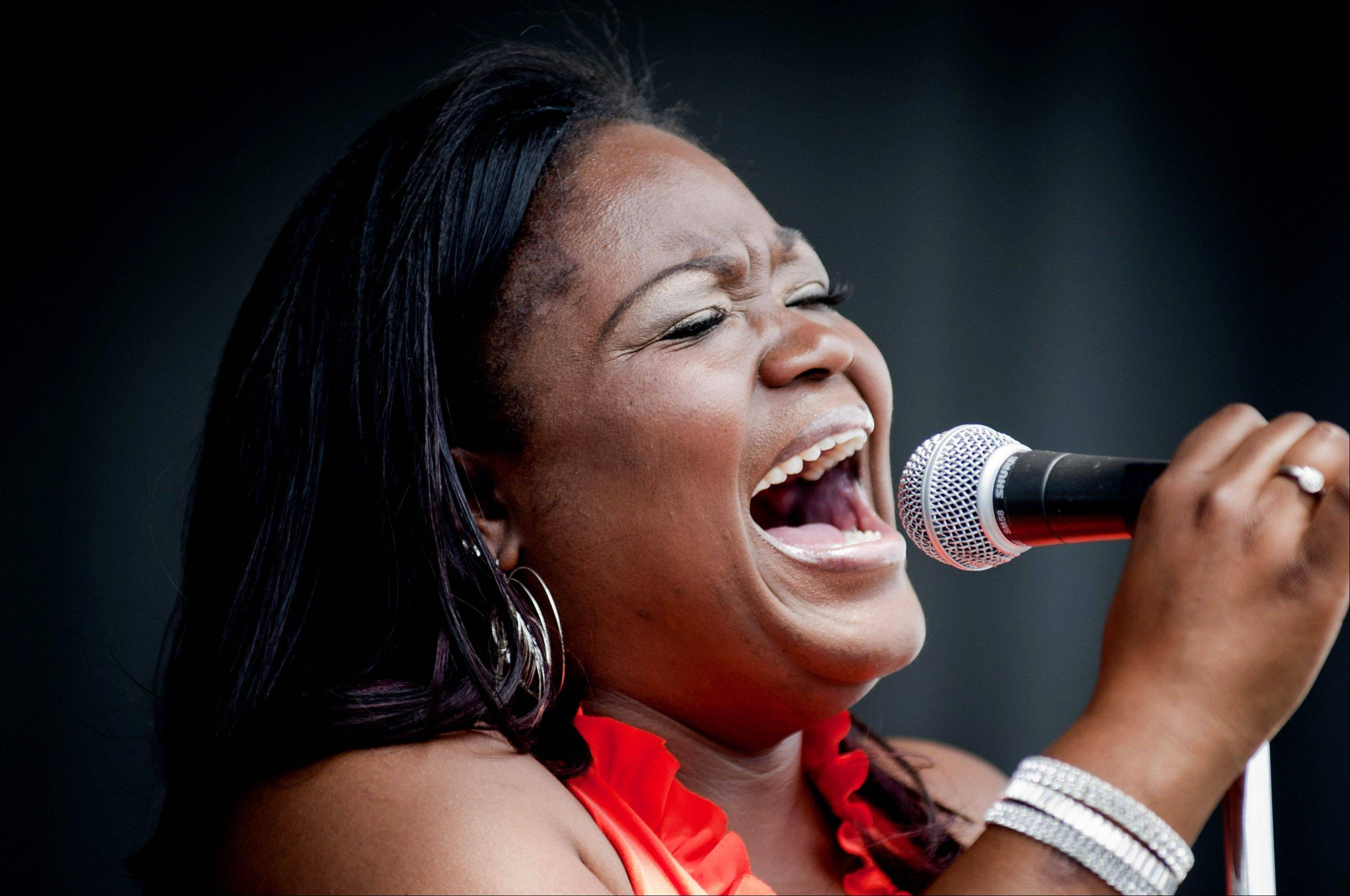 Shemekia Copeland uses her voice to cool off large crowds at Blues on the Fox in Aurora on Saturday.