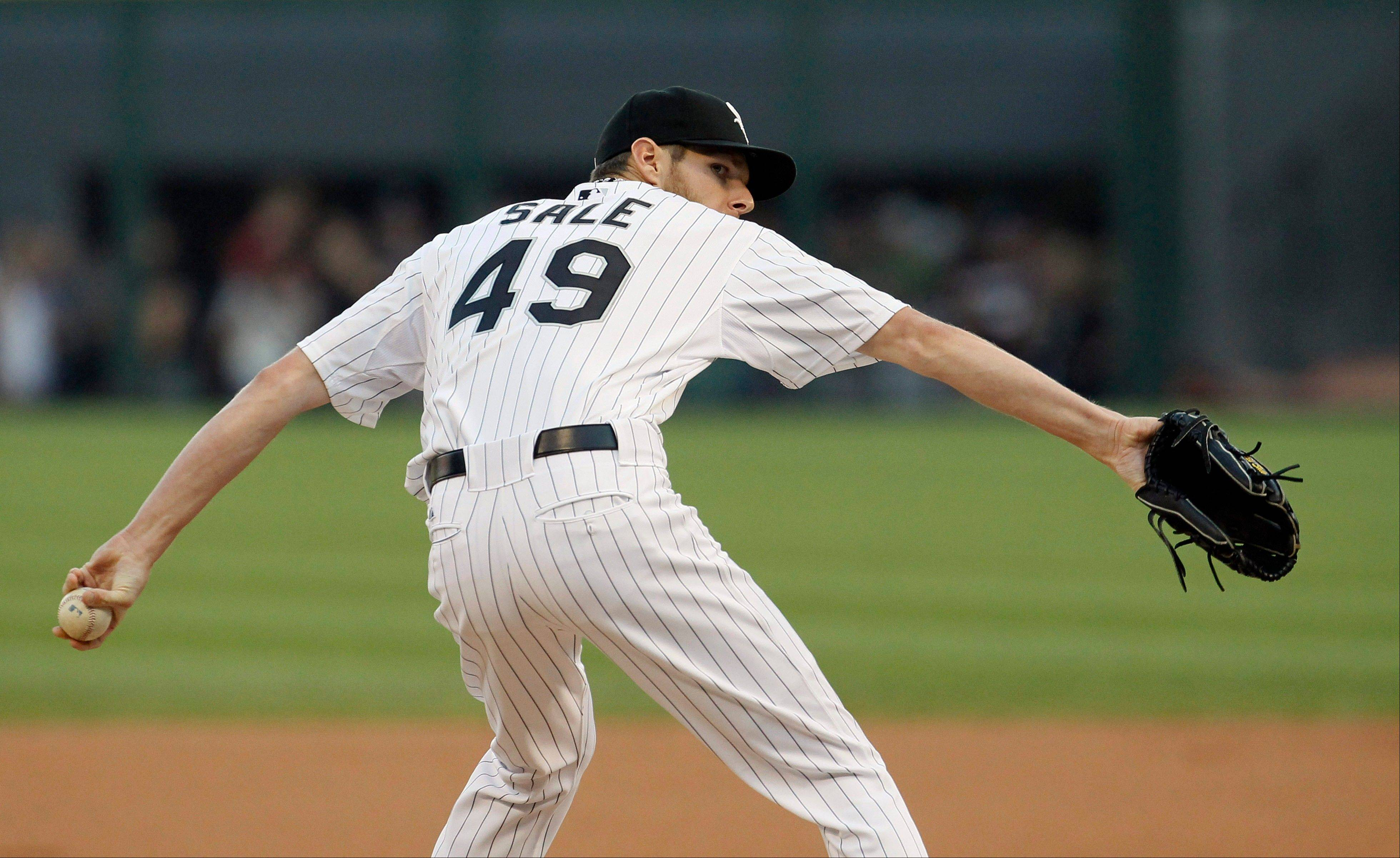 White Sox starting pitcher Chris Sale worked 8 scoreless innings Friday night agiants the Brewers but came away with a no-decision.