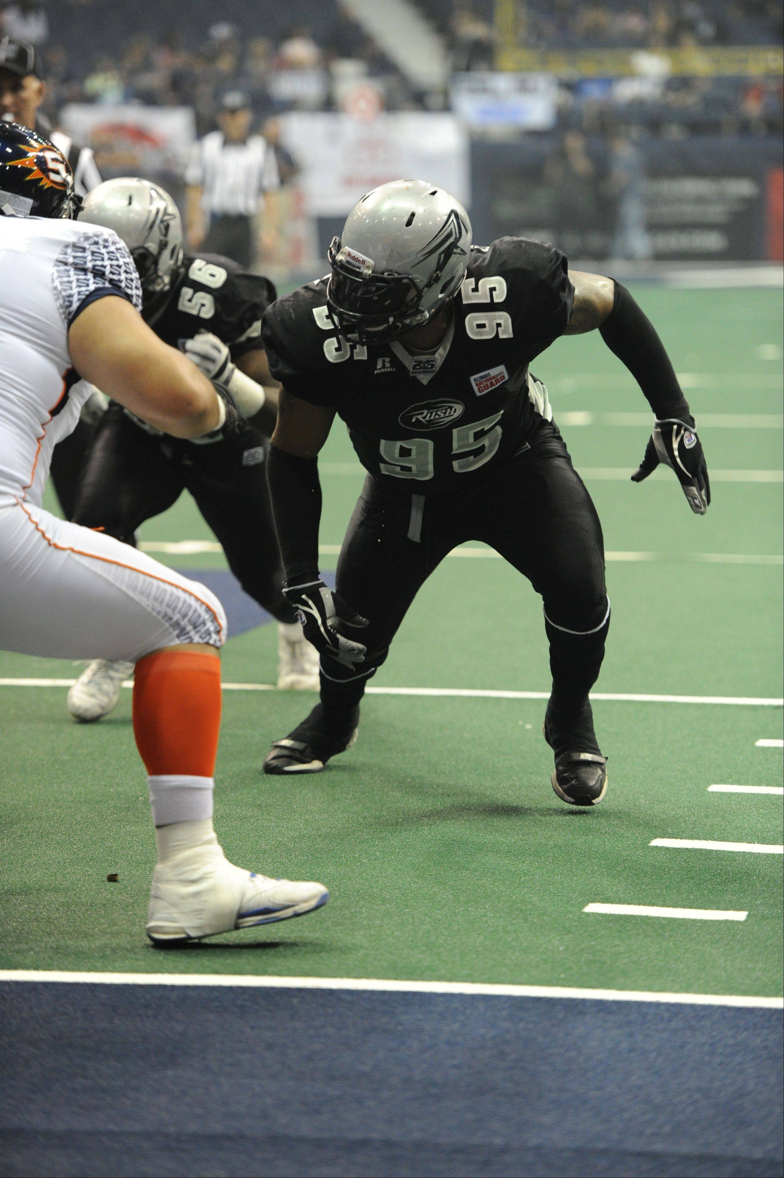 Defensive lineman Jeffrey Fitzgerald and the rest of the Chicago Rush defense came up big against the Georgia Force last week, intercepting 3 passes and forcing 4 turnovers on downs.