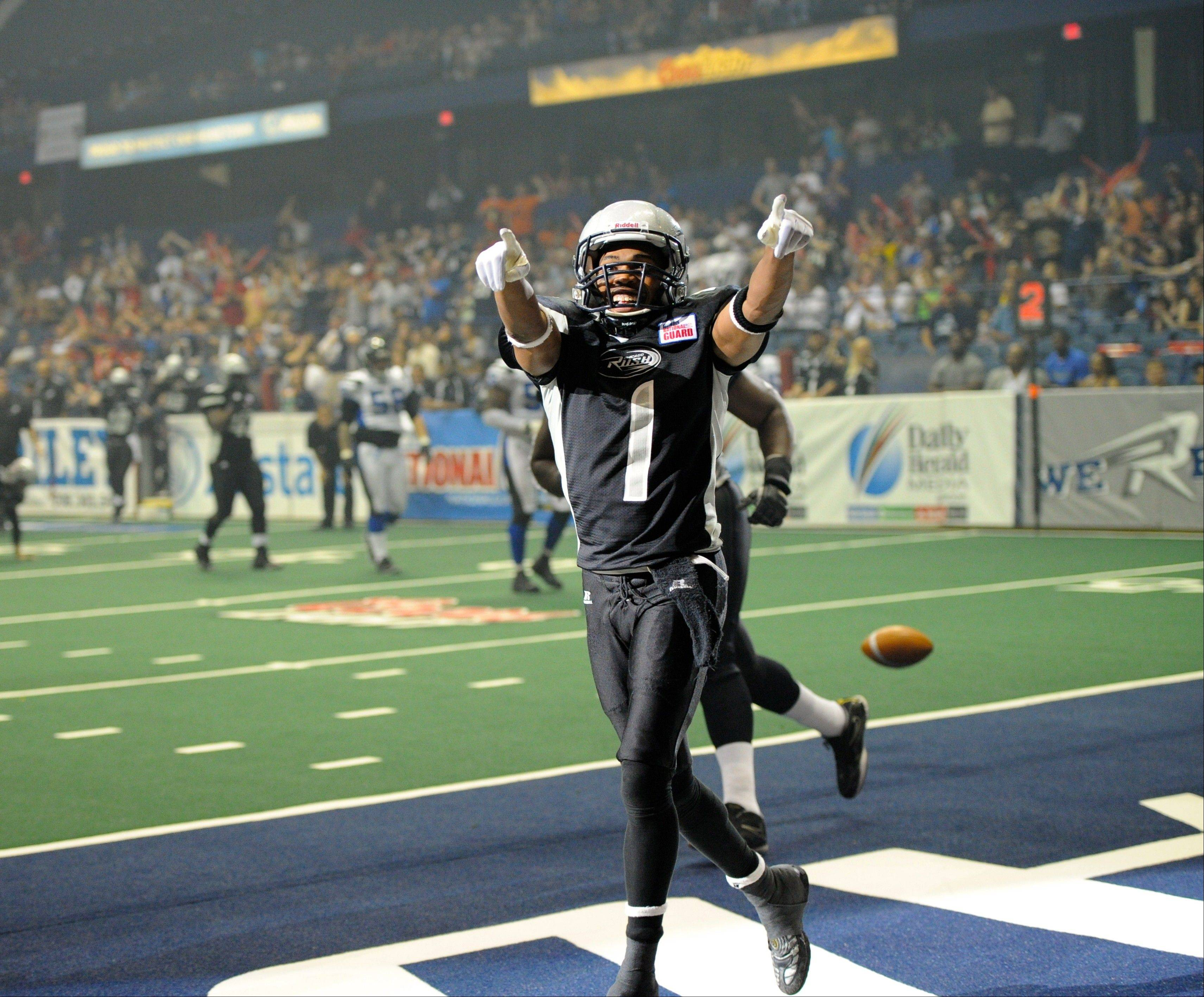 Rush wide receiver Reggie Gray celebrates a touchdown. Gray has found the end zone 33 times this season.