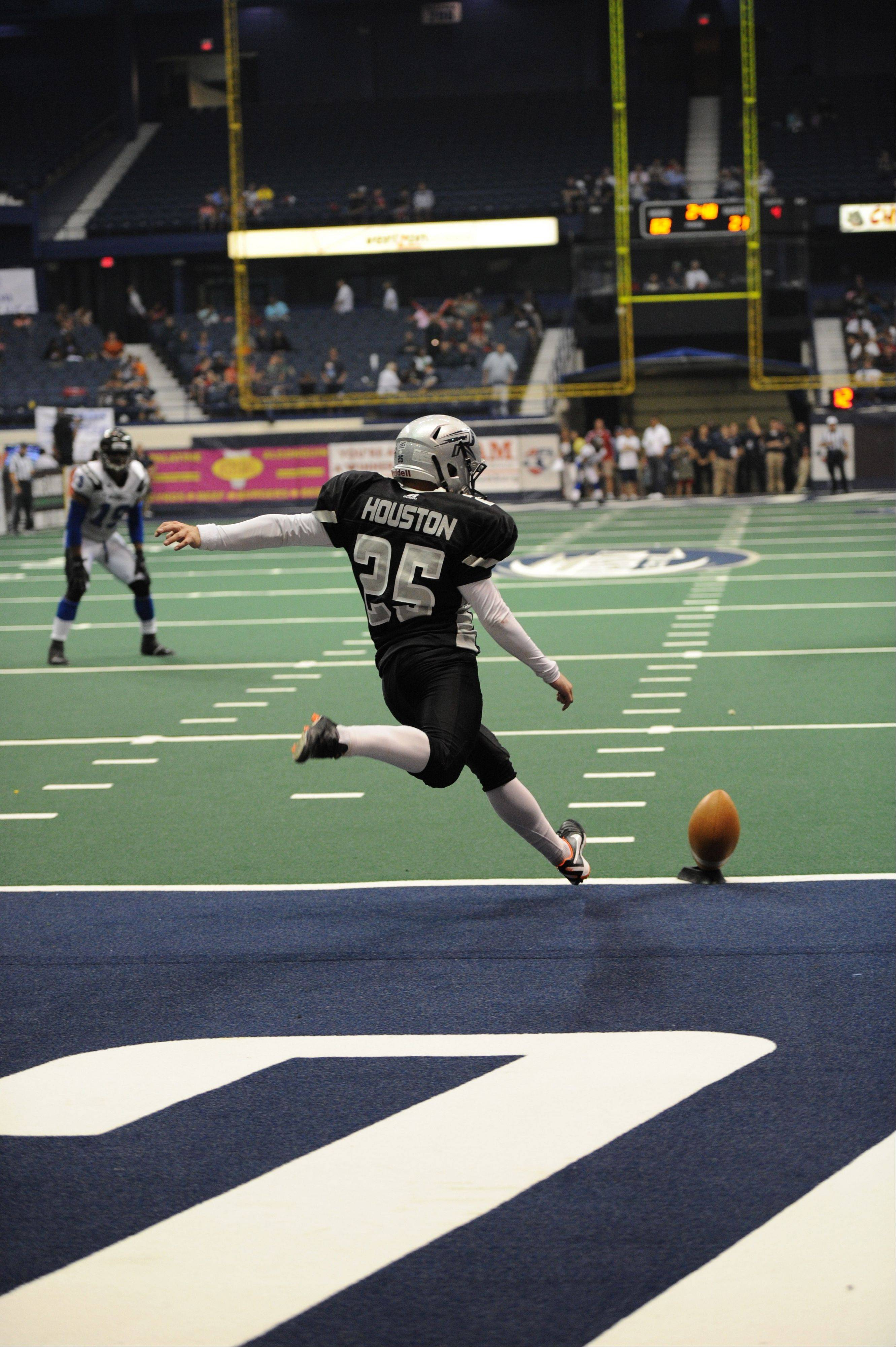 Joe Houston kicks off for the Chicago Rush. The former USC Trojans kicker was assigned to the Rush on May 21.