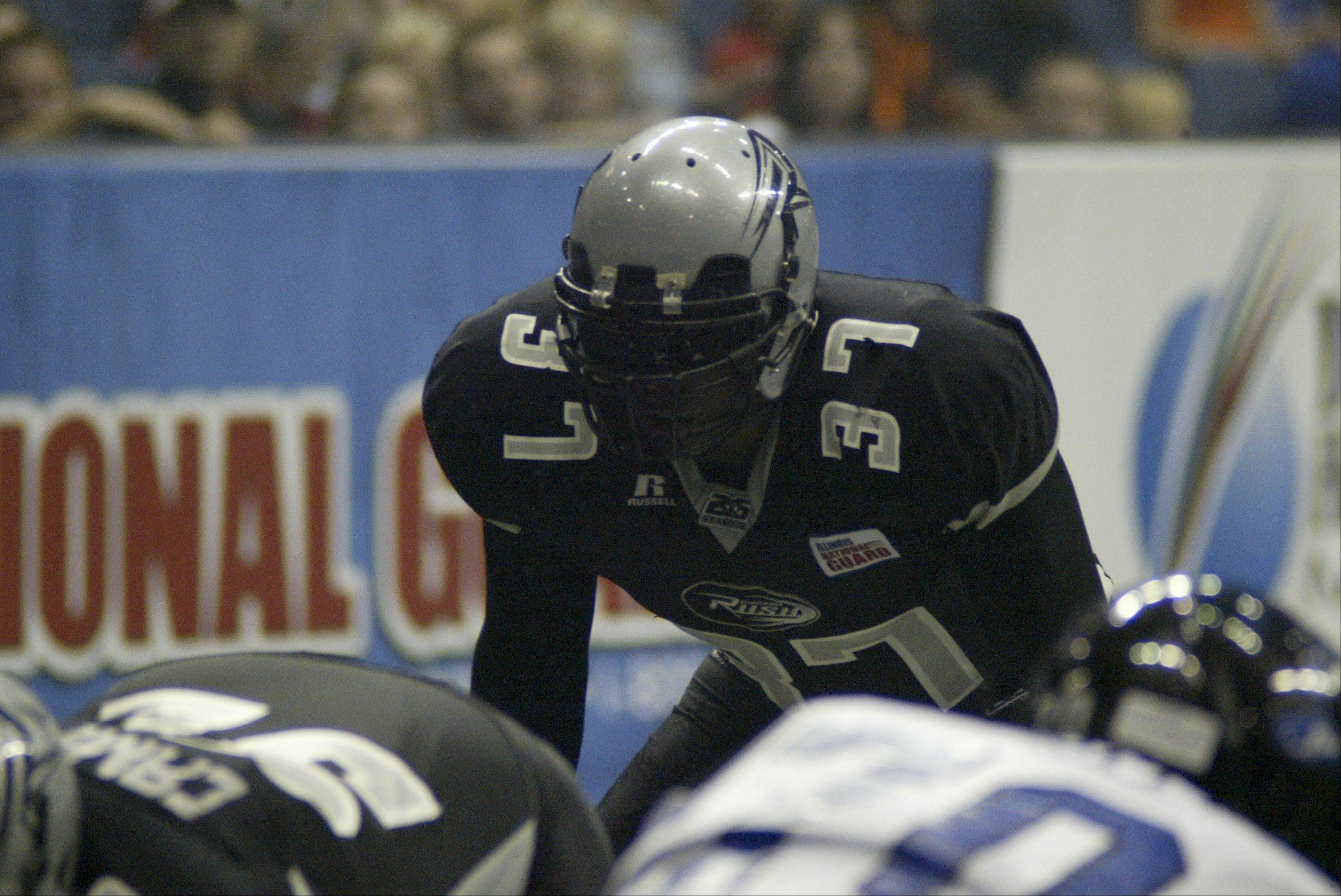 Linebacker Kevlin Morris returned an interception for a touchdown in the Chicago Rush's 62-27 win over the Georgia Force last weekend.