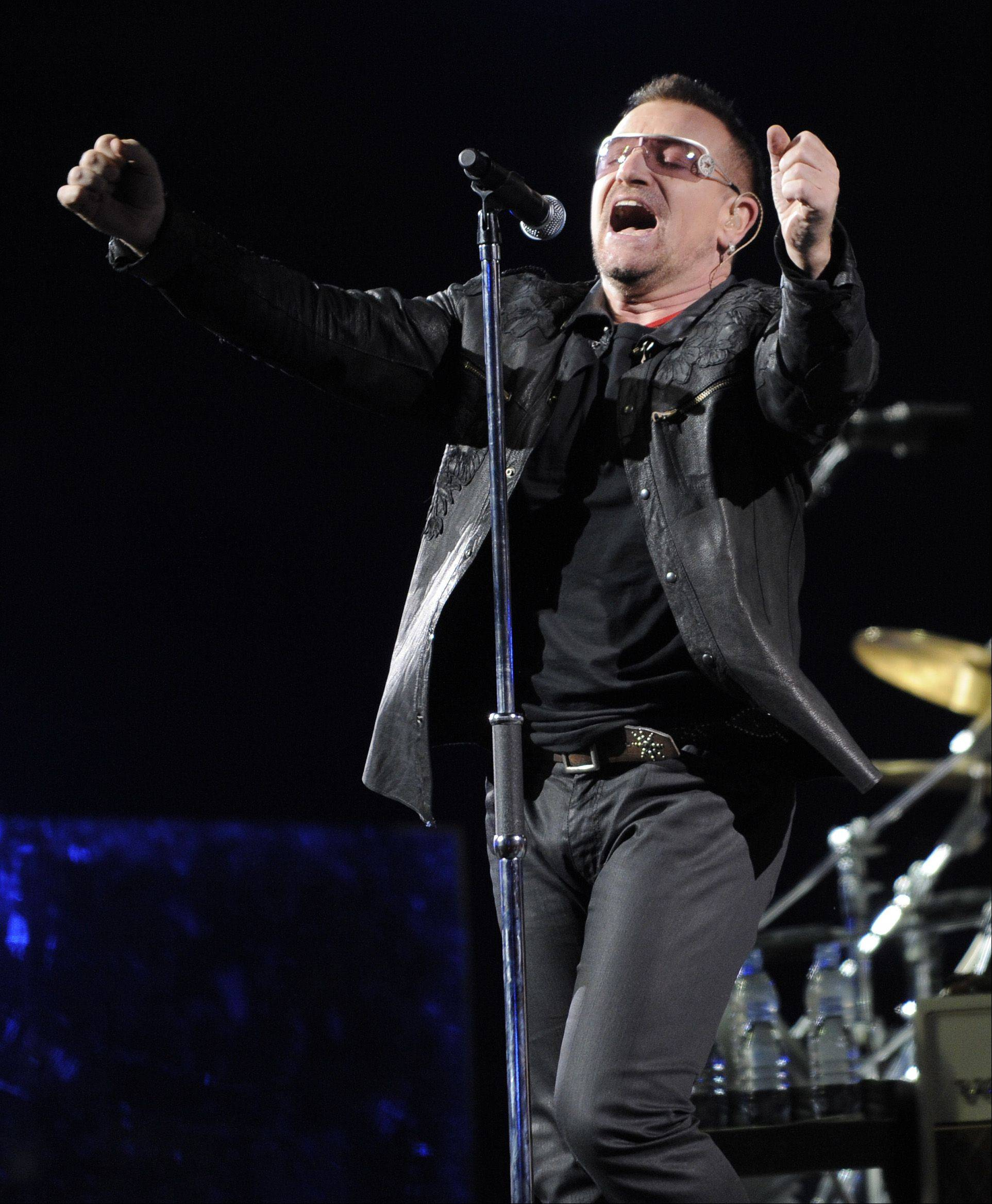 In this Oct. 25, 2009 file photo, Bono of the Irish rock band U2 performs during their 360 world tour stop at the Rose Bowl in Pasadena, Calif.