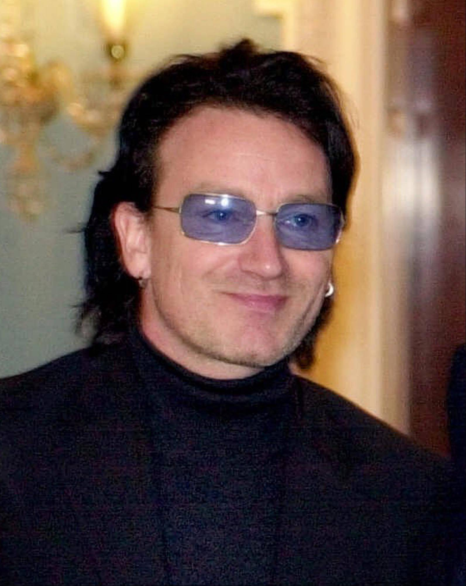 "Rock star Bono is seen in Washington in this March 16, 2001 file photo. Bono, lead singer of the Irish rock band U2, has been named ""European of the Year"" for his campaign for debt relief in developing nations, in a poll conducted by the weekly European Voice."