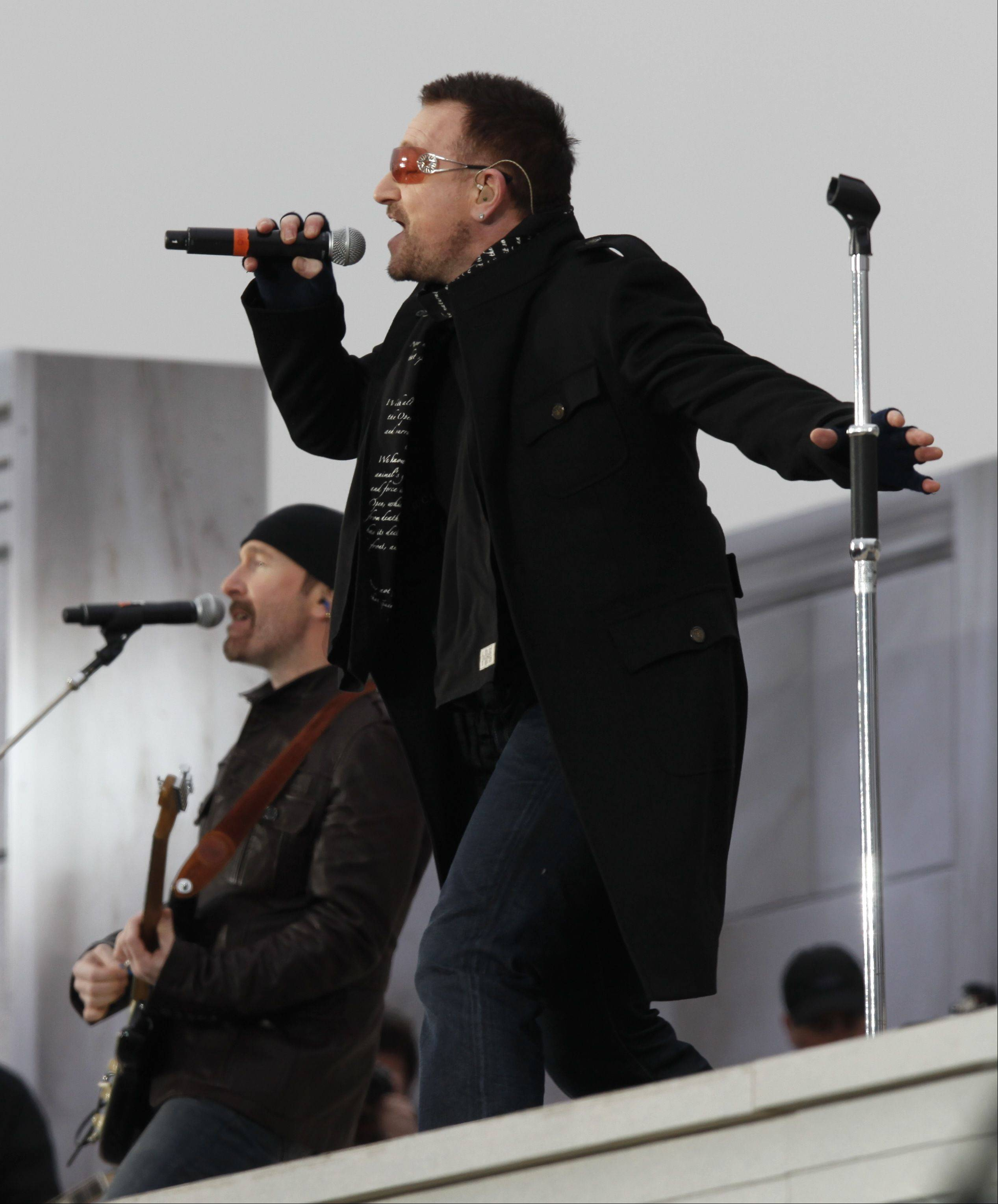 U2 frontman Bono, right, and guitarist The Edge perform at the Lincoln Memorial for President-elect Barack Obama's inaugural concert in Washington, Sunday, Jan. 18, 2009.