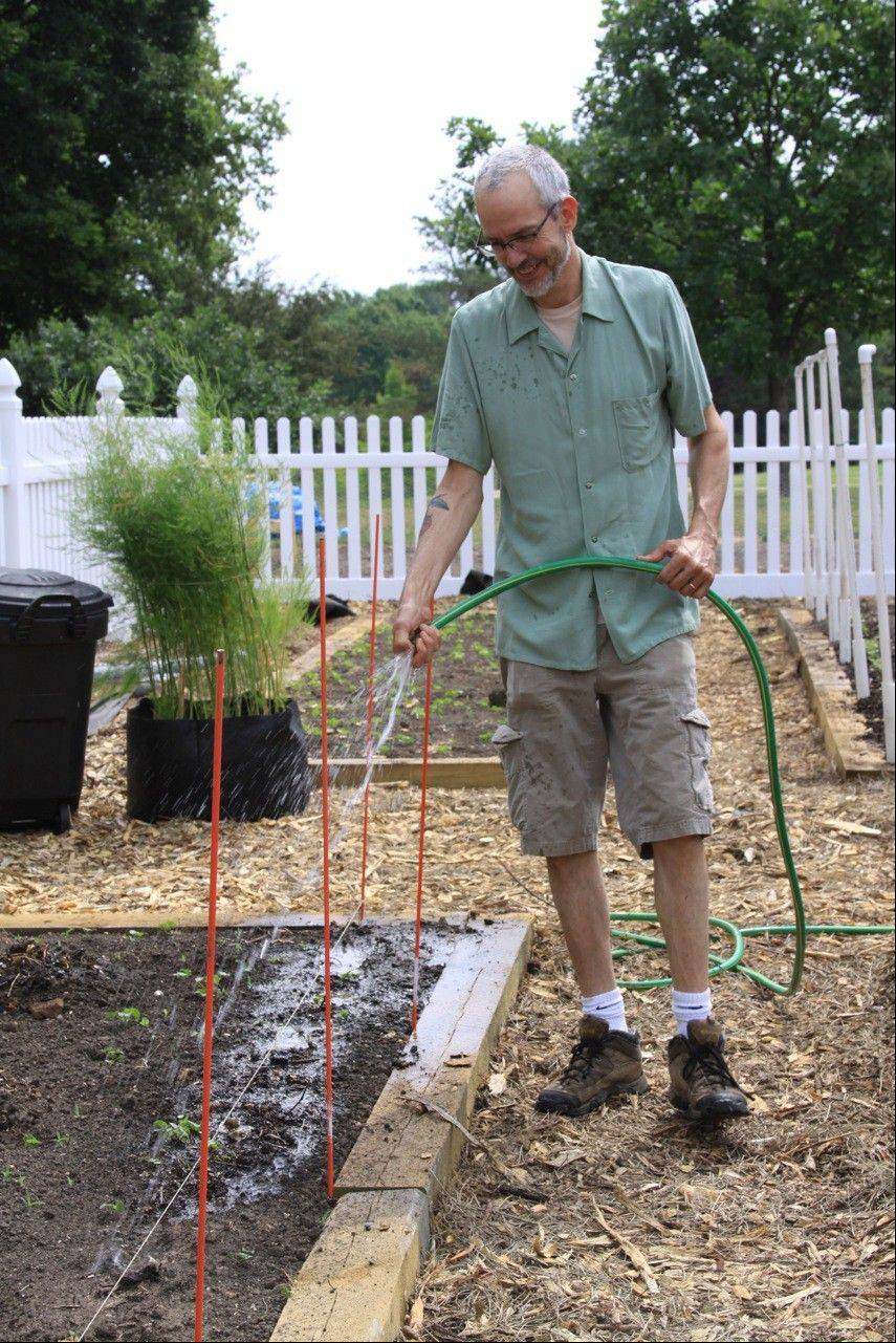 Chef Tom Leavitt of Buffalo Grove, who initially introduced the idea of starting a sustainable garden to the Viatorians, waters his plot.
