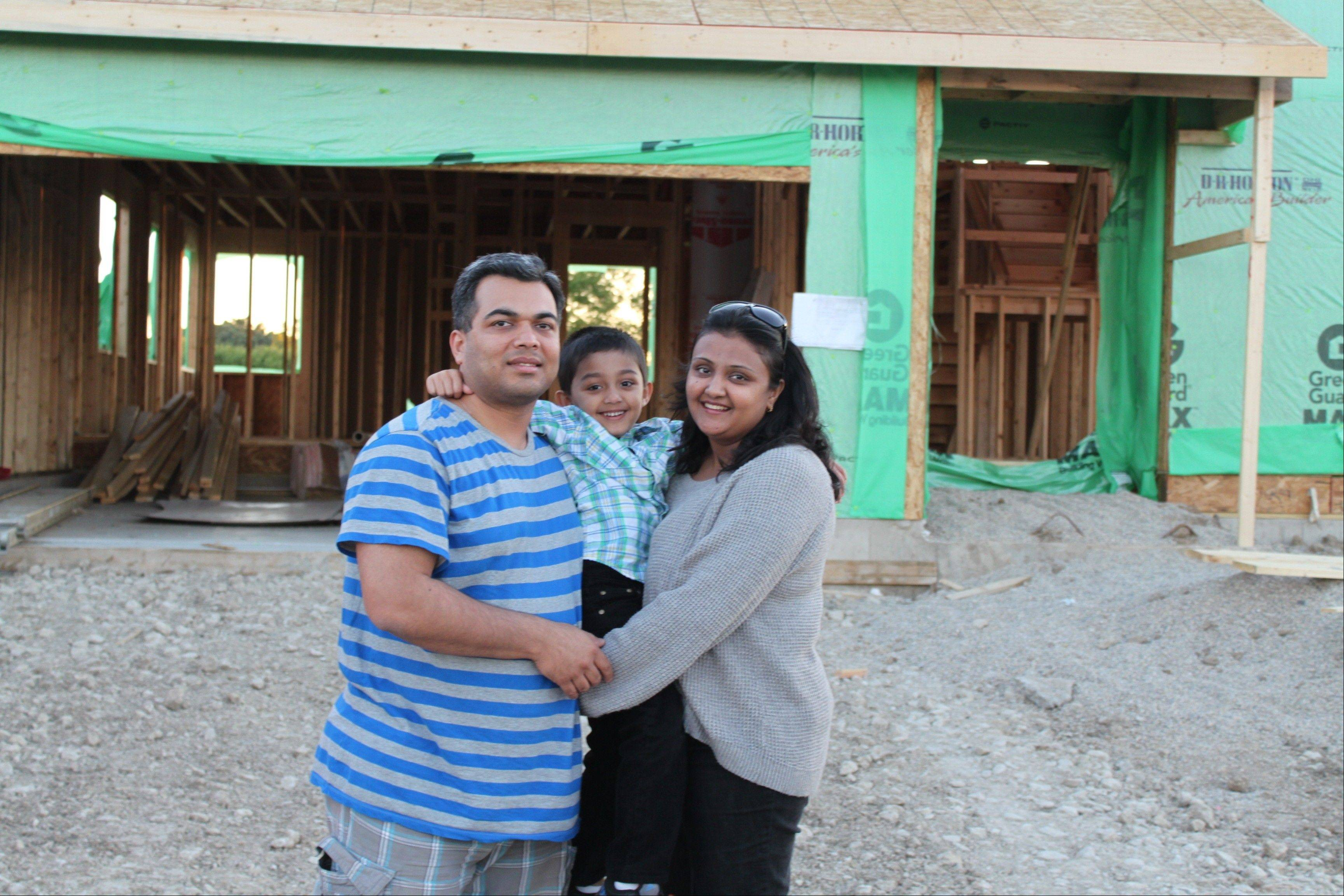 Pushpendu and Vidhi Patel and their son Aryan will soon move from Des Plaines to this home in D.R. Horton's Symphony Meadows subdivision in Volo.
