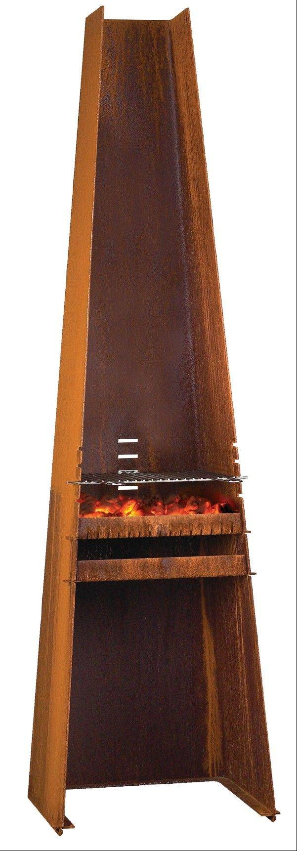 The Rais Giseh grill, standing 6-feet tall, can double as a yard sculpture. This rust-colored steel grill looks like a skyscraper standing on an 18-inch square base.