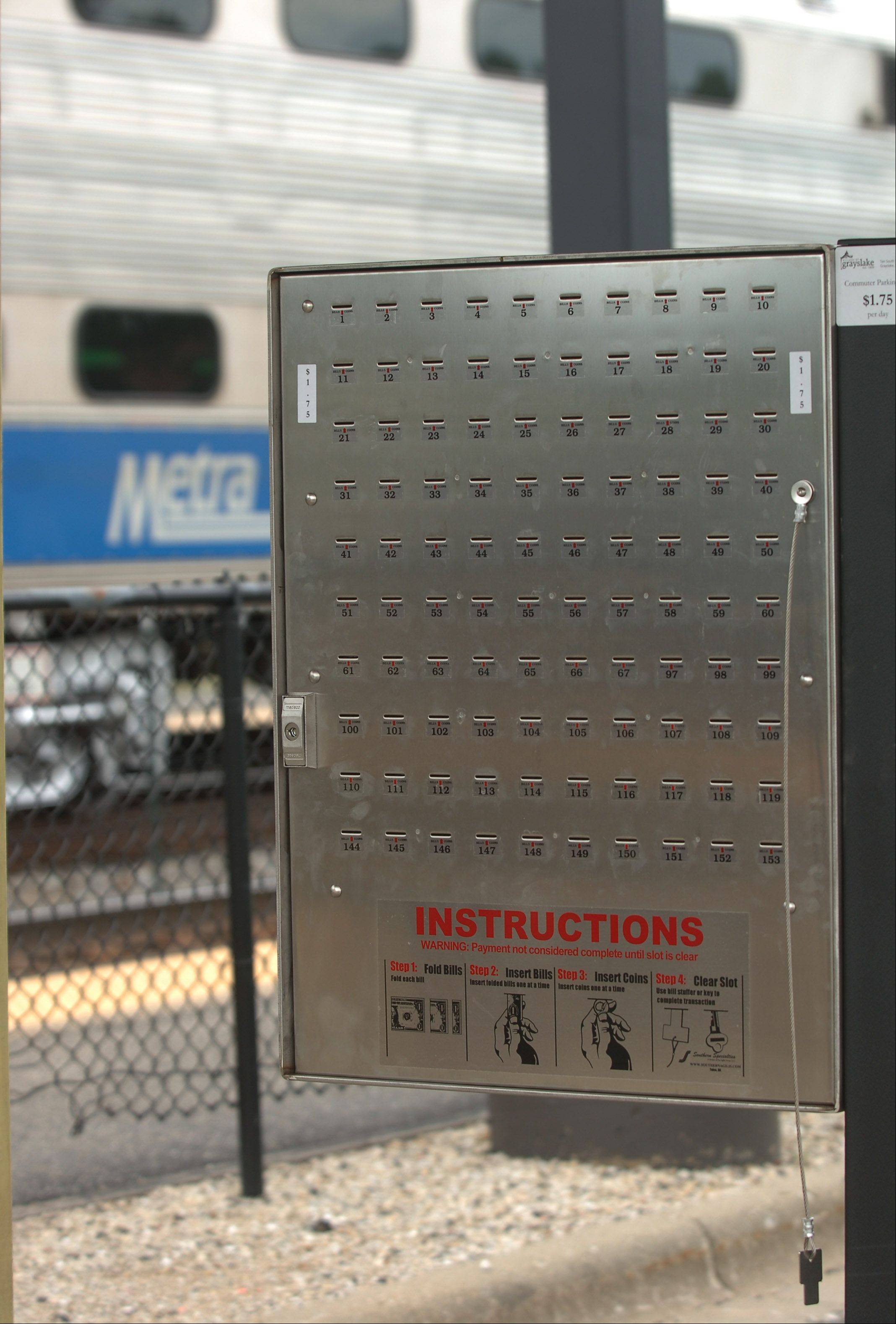 Pay boxes have replaced the electronic units at Grayslake's Lake Street Metra station.