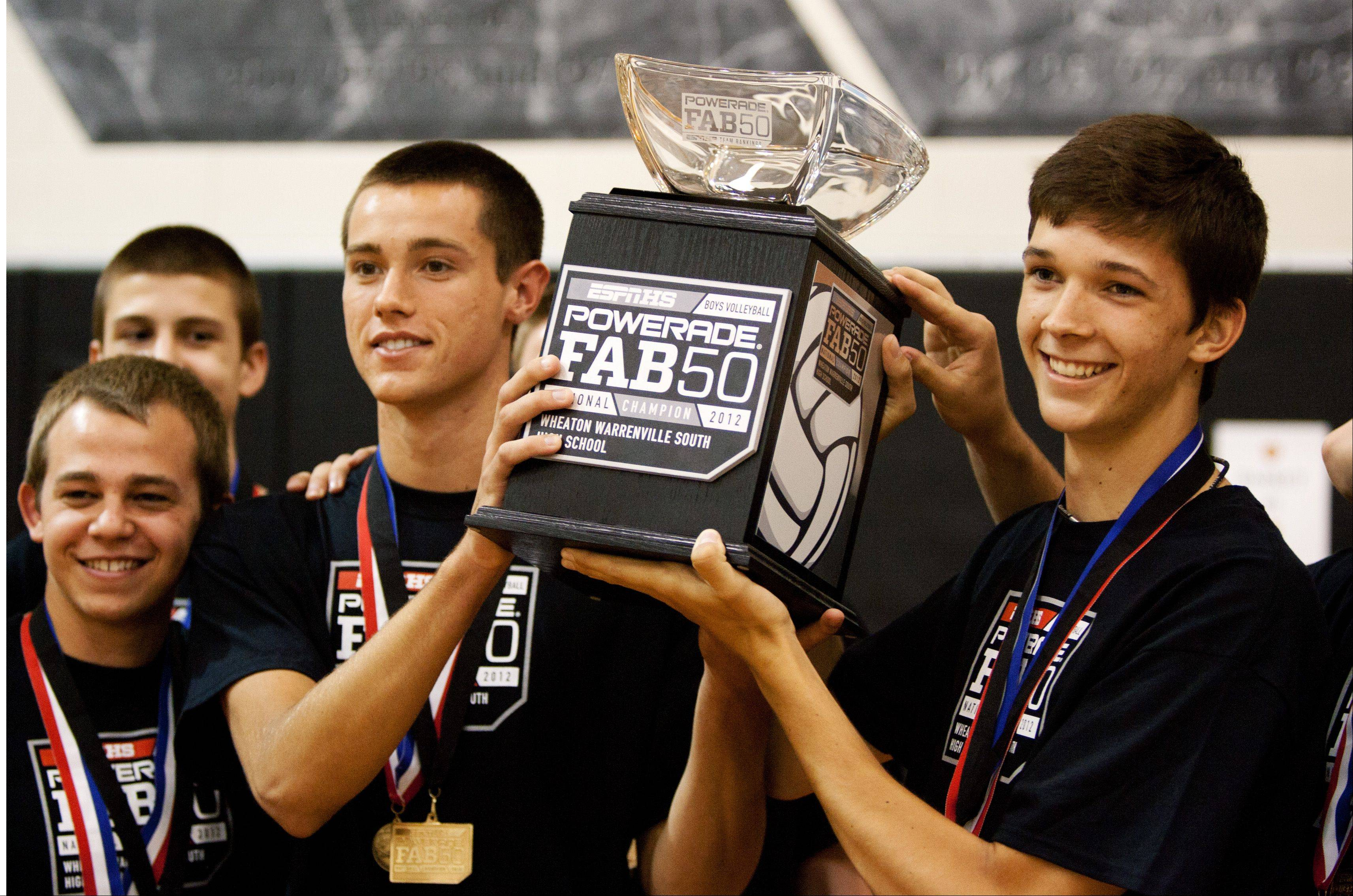 Thomas Jaeschke, left, and Matt Callaway raise the Powerade Fab 50 Trophy presented to them by ESPNHS.