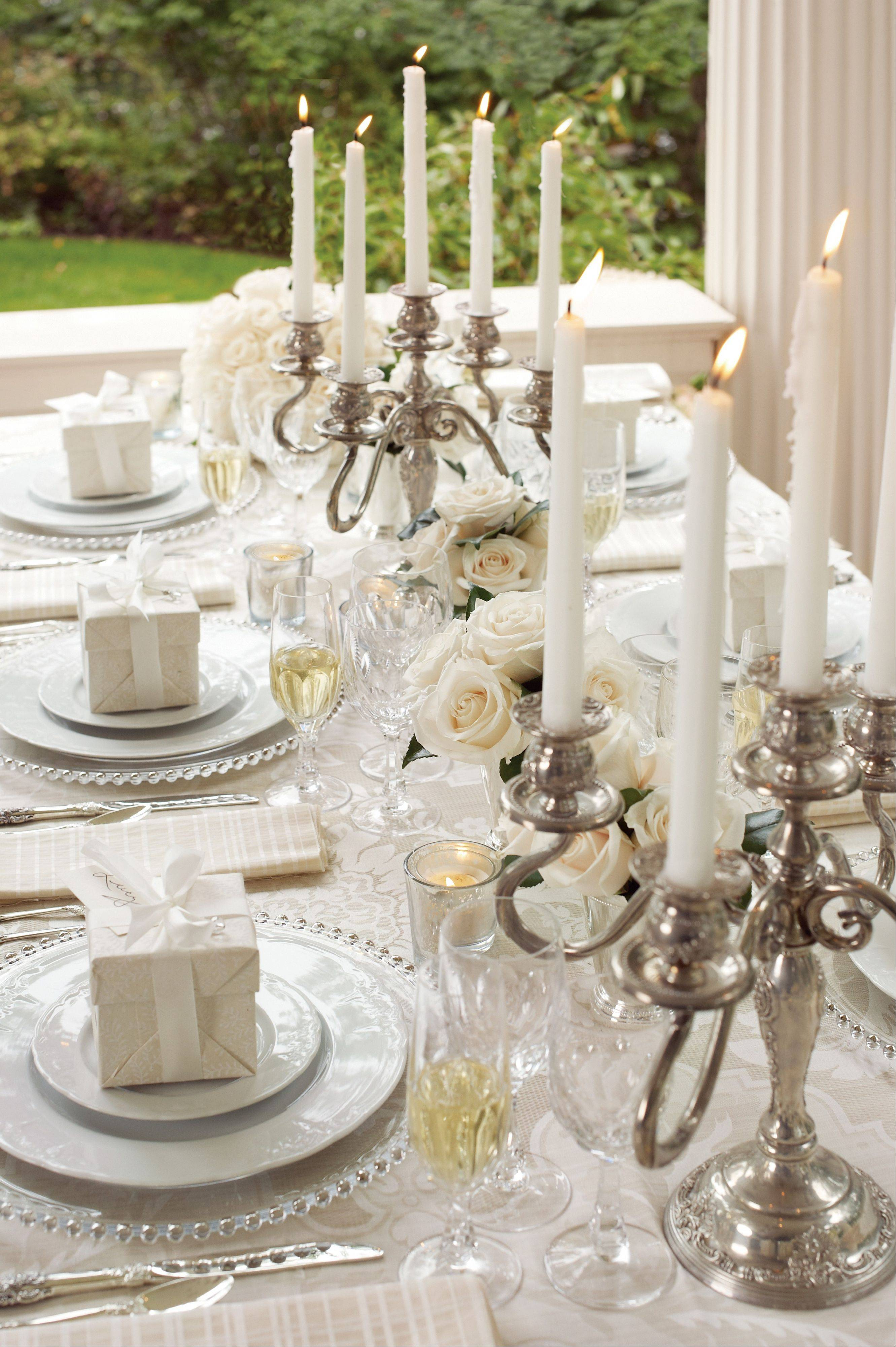 Monica Pedersen started with a damask called Kilfane for the tablecloth when designing this wedding table.