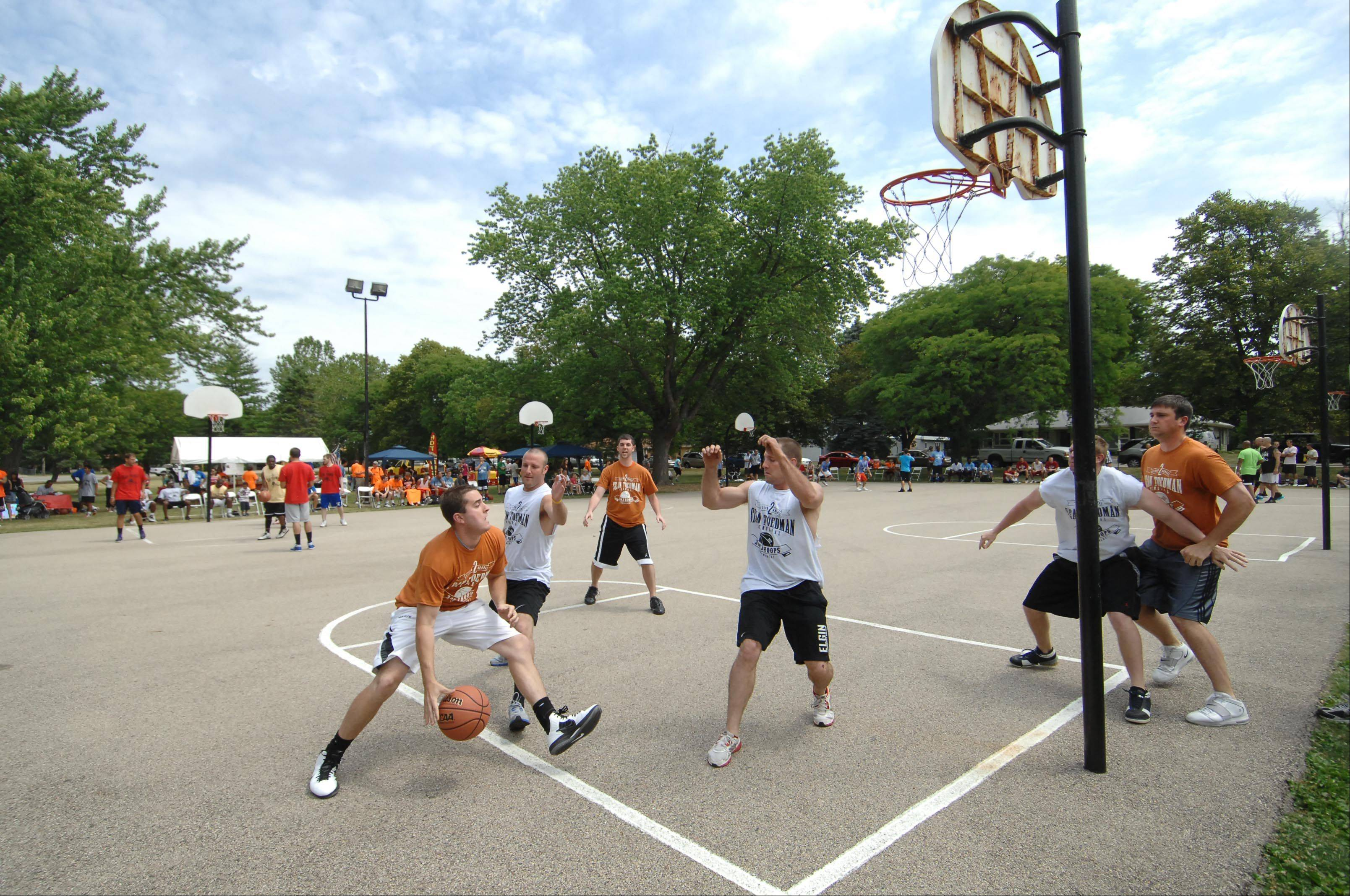 Some of the Fox Valley top current and former high school basketball players gathered in East Dundee on Sunday for the second annual Sean Toedman Memorial 3-on-3 Basketball Tournament. Teams competed and raised money to benefit St. Jude Children's Research Hospital in Memphis.