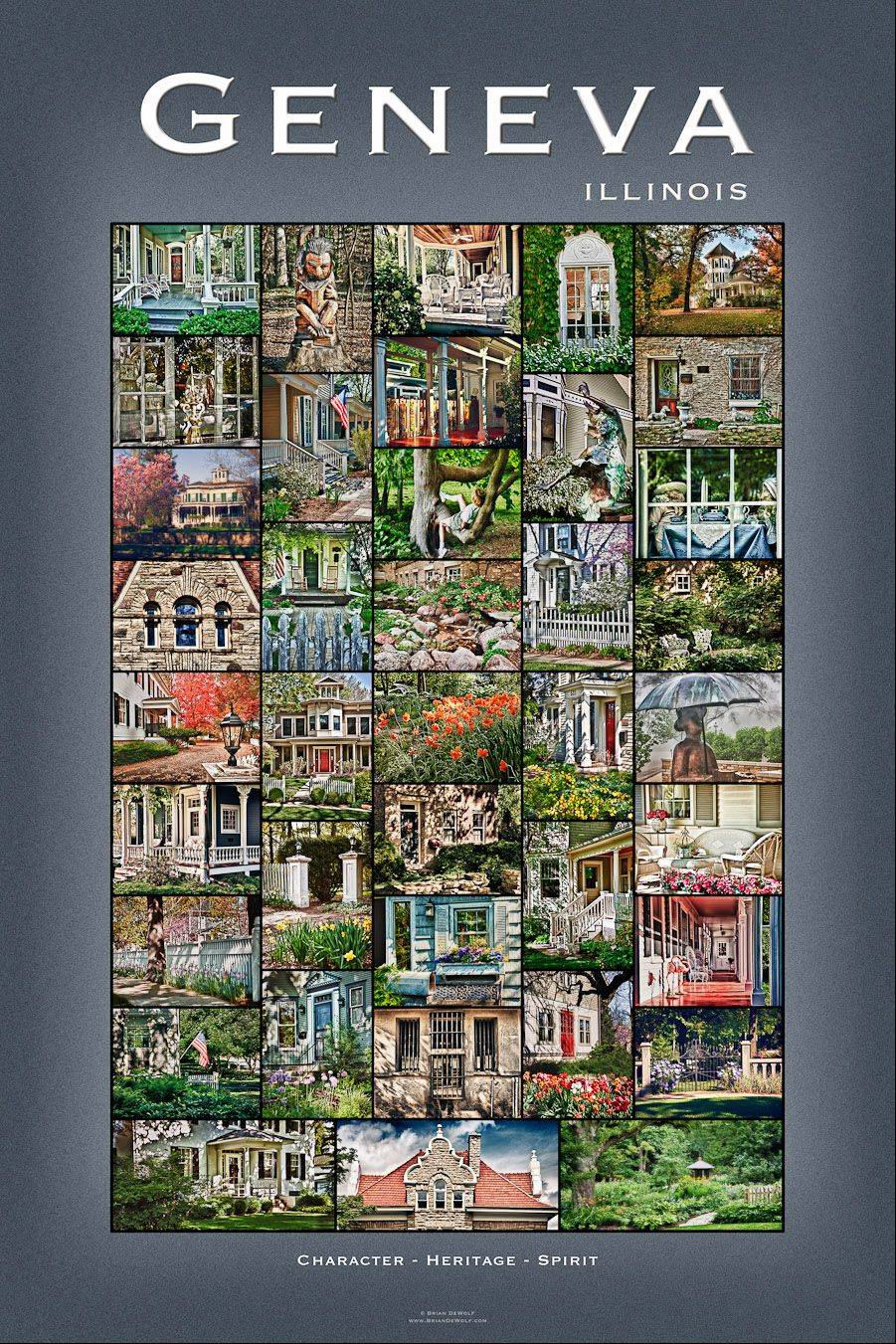 Artist Brian DeWolf's new Geneva poster features a collage of photos he has taken of historic Geneva homes, gardens and businesses.