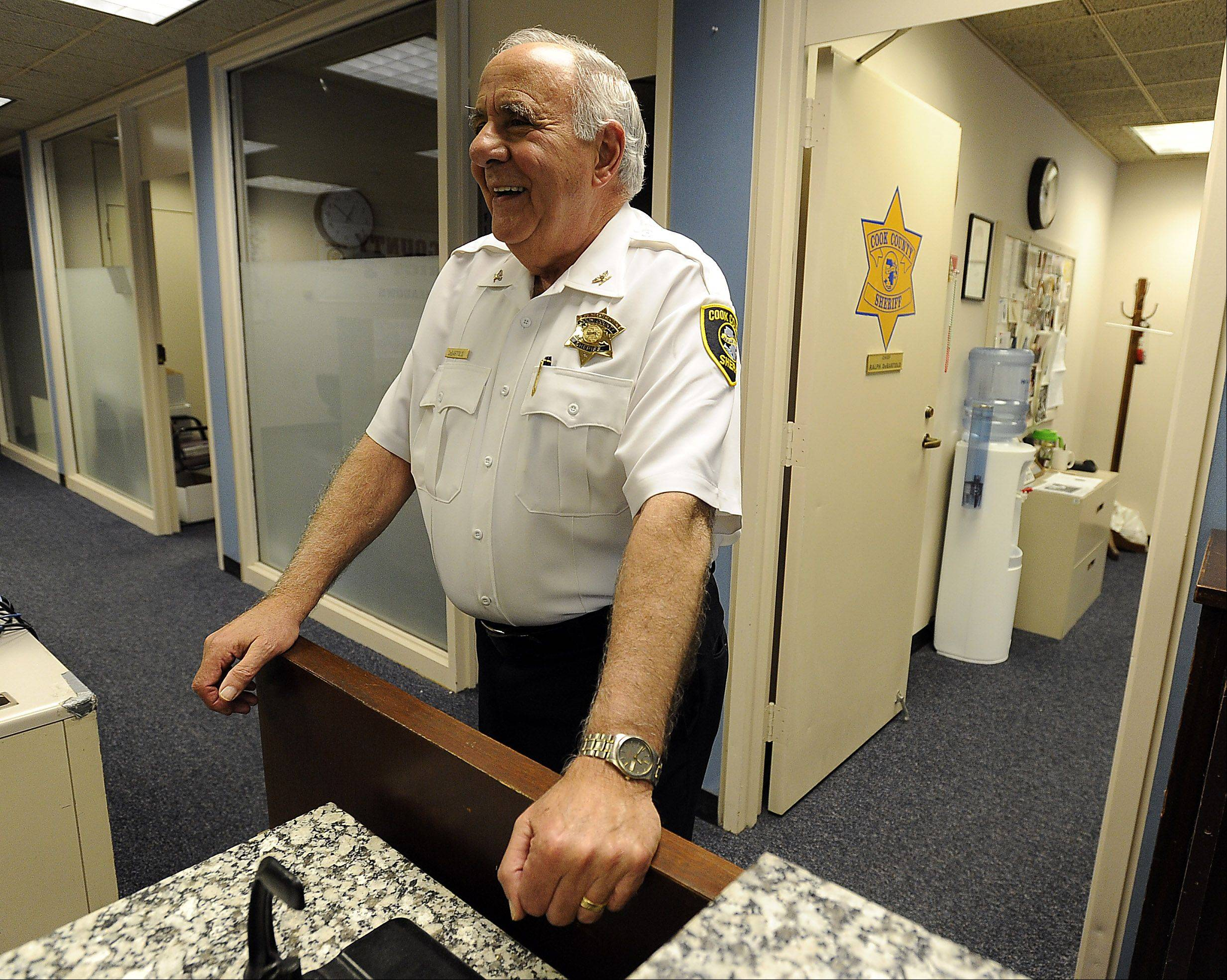 "The key to being a popular and effective leader is treating people ""the way I want to be treated,"" says Chief Ralph DeBartolo of the Cook County sheriff's department outside his office in the Rolling Meadows courthouse."