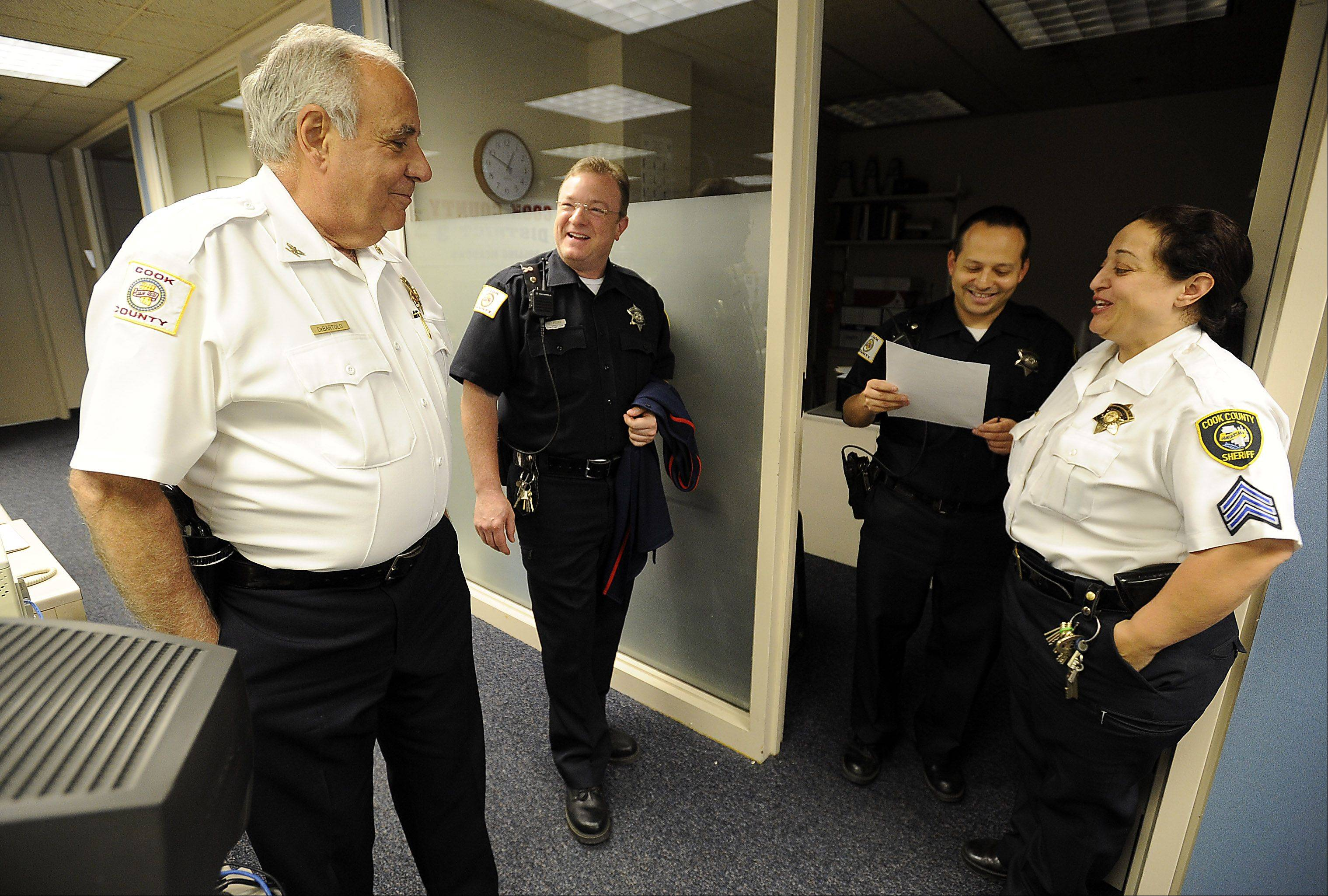 A legend in the Rolling Meadows courthouse, Chief Ralph DeBartolo of the Cook County Sheriff's Department draws praise from his deputies. The popular chief, who turns 79 Monday, will celebrate his 55th anniversary in law enforcement at the end of the month and has no plans to retire.