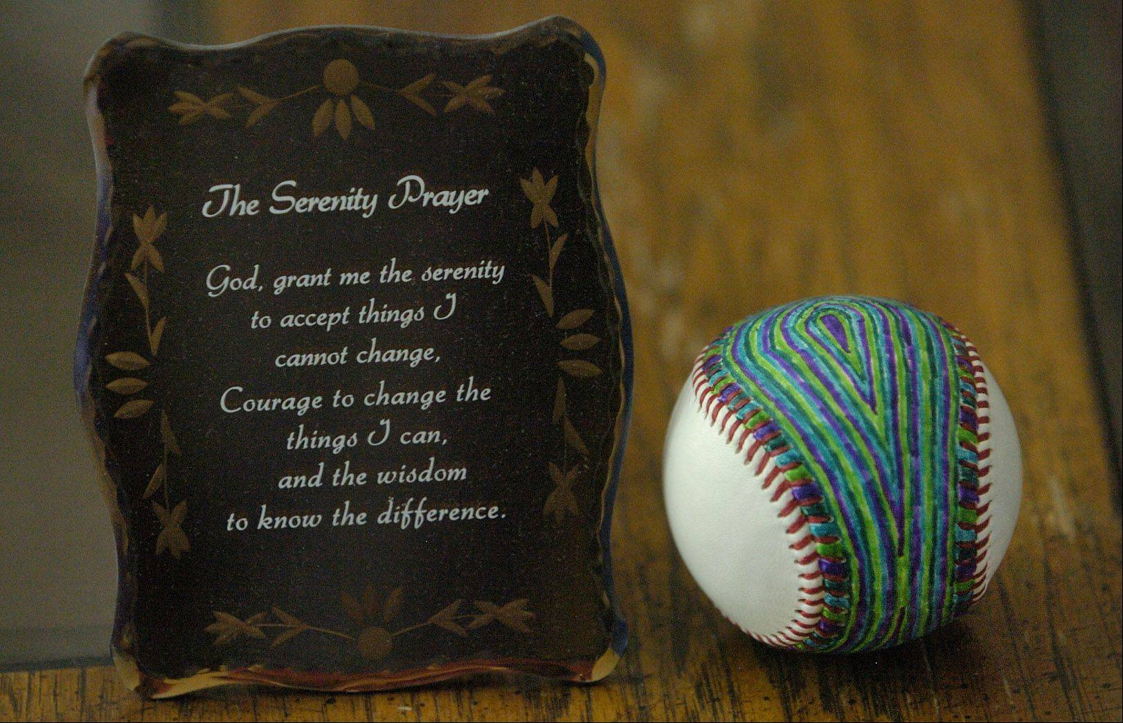 The Serenity Prayer his sister Lauren Hansen gave him while recovering, and a baseball he colored for three hours while high on heroin, are reminders of his former addiction for Michael Hansen.