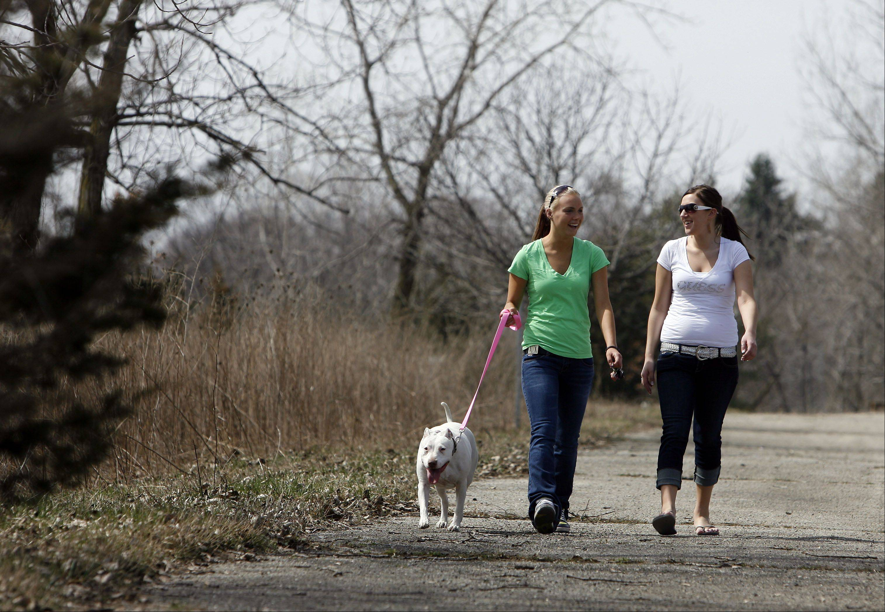 Klaudia Tabor, left, and Kayle Keehn, both of Algonquin, take Pepper, a pit bull, for a walk at Raceway Woods in Carpentersville.