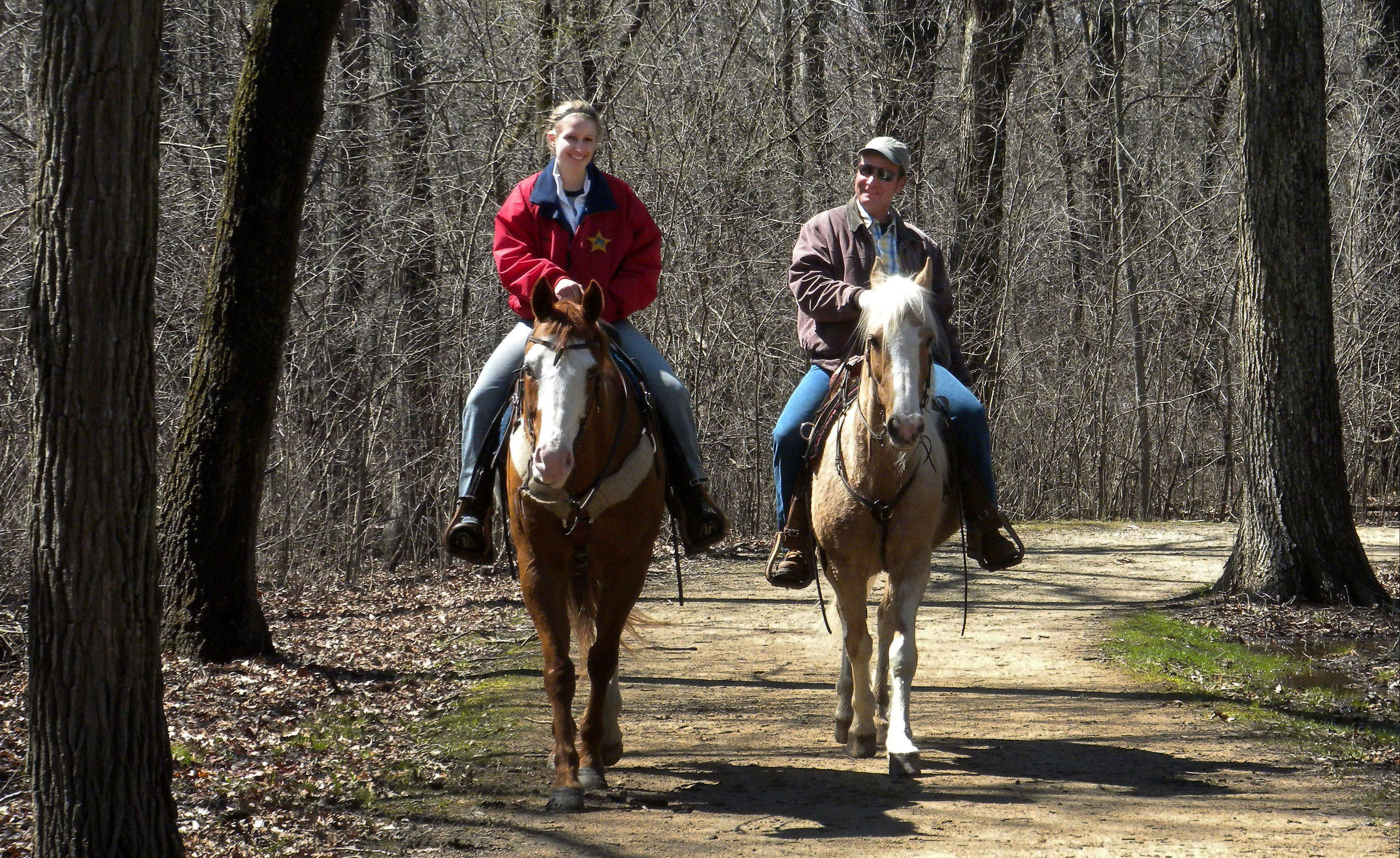 Some forest preserve areas are ideal for equestrians, who are bound by the same rules of trail etiquette as other users.
