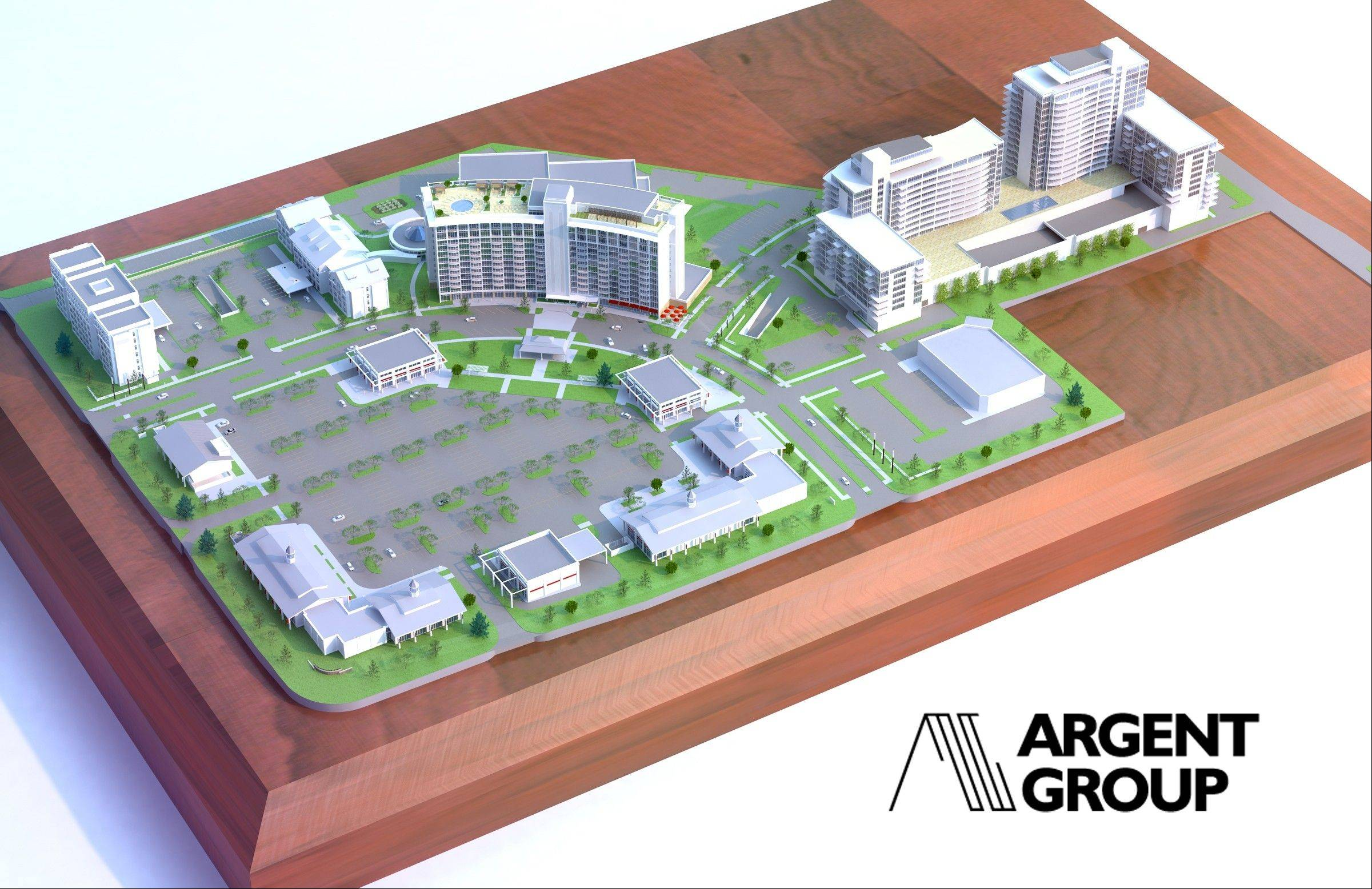 The site plan for Arlington Downs shows the old hotel with the water park nearby. Two hotels whose orientation will probably be changed are in the upper left-hand corner; retail is in the lower left-hand corner; and two new buildings with luxury apartments are off to the right.