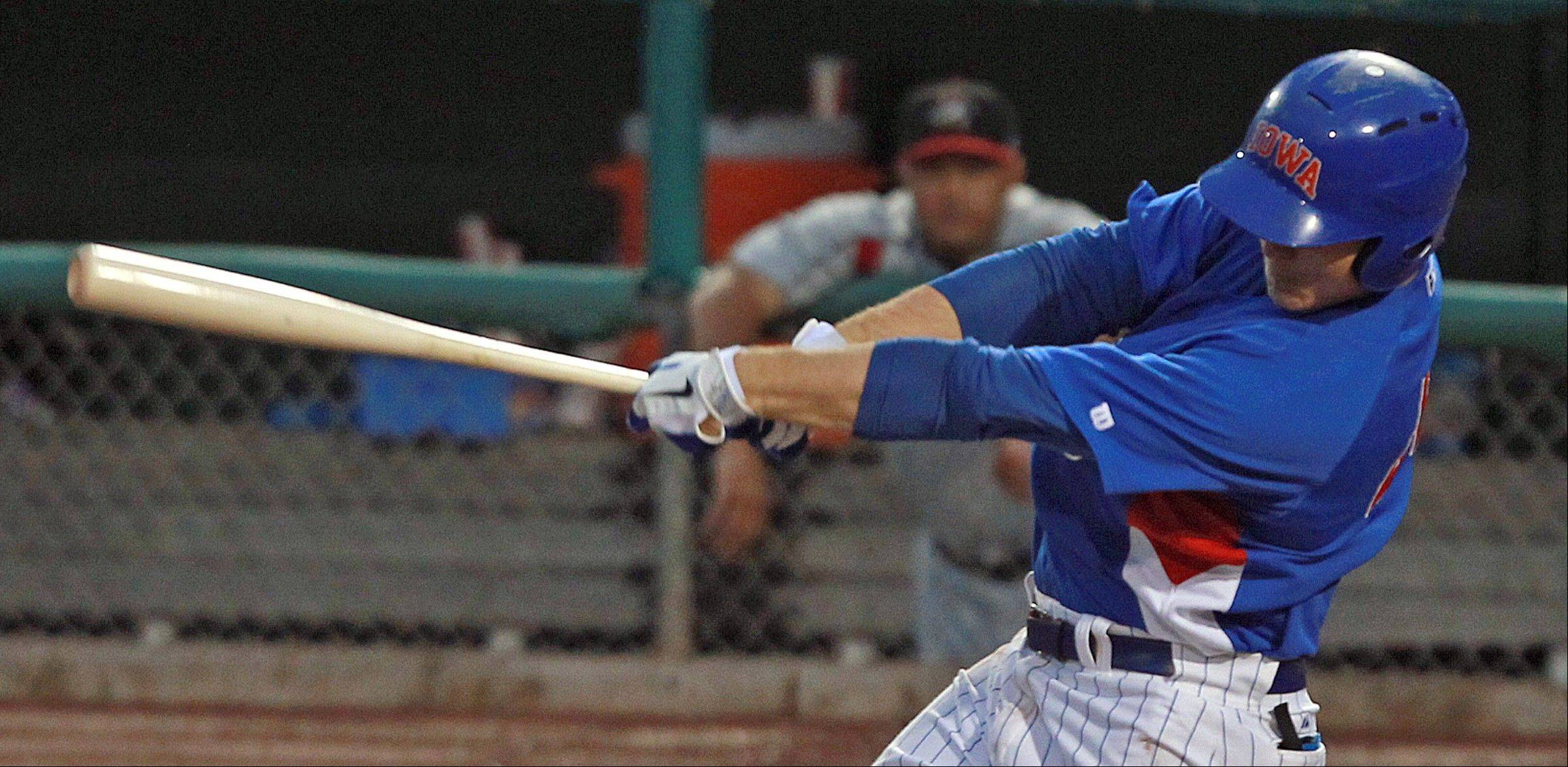 Cubs prospect Anthony Rizzo hit 23 home runs for the Iowa Cubs, and he'll get a chance to connect with Chicago Cubs fans with his debut Tuesday at Wrigley Field. Here he connected for a single against Albuquerque in June 15 game at Principal Park in Des Moines.