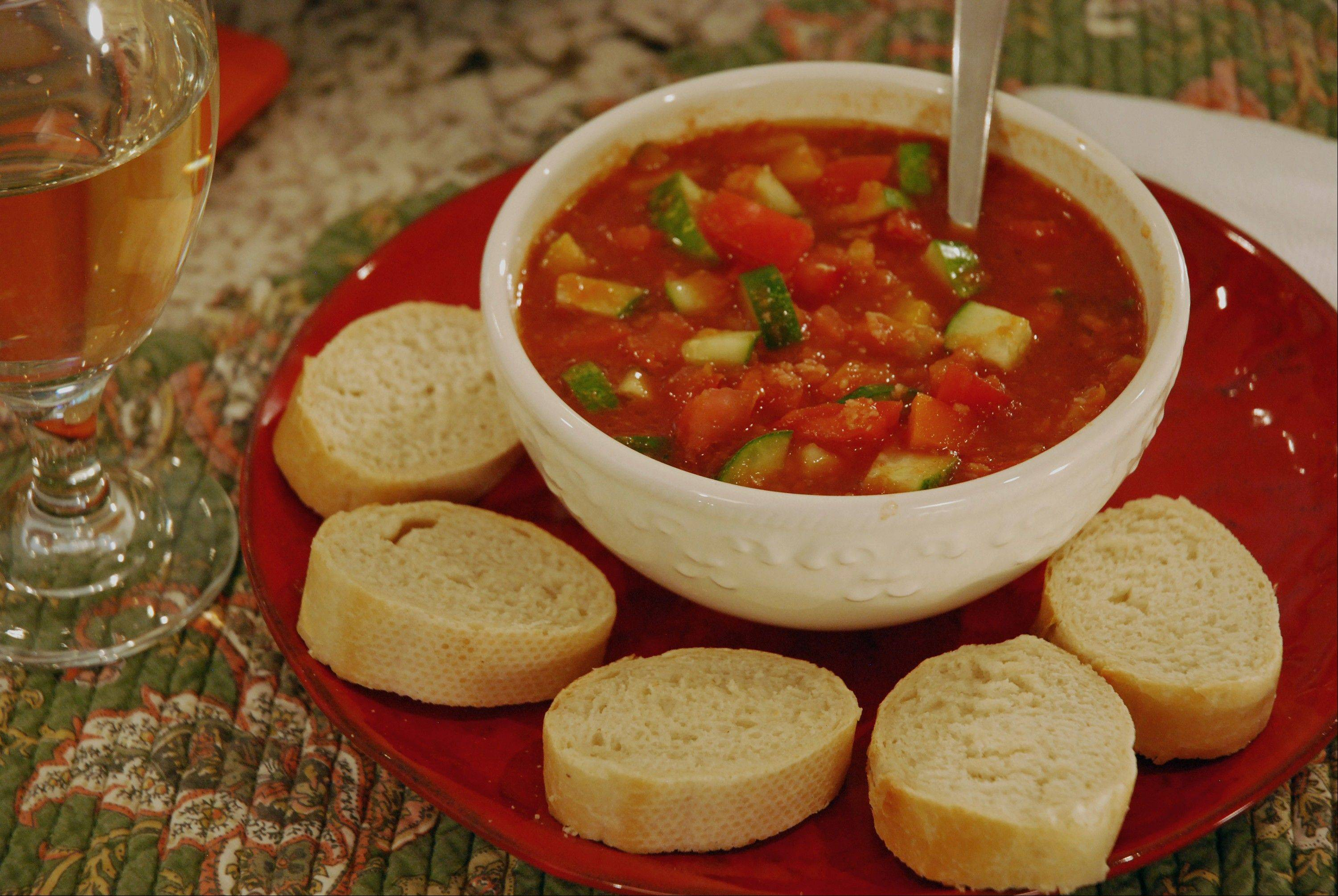 Chilled gazpacho is a nice addition to the line up of traditional Fourth of July foods.