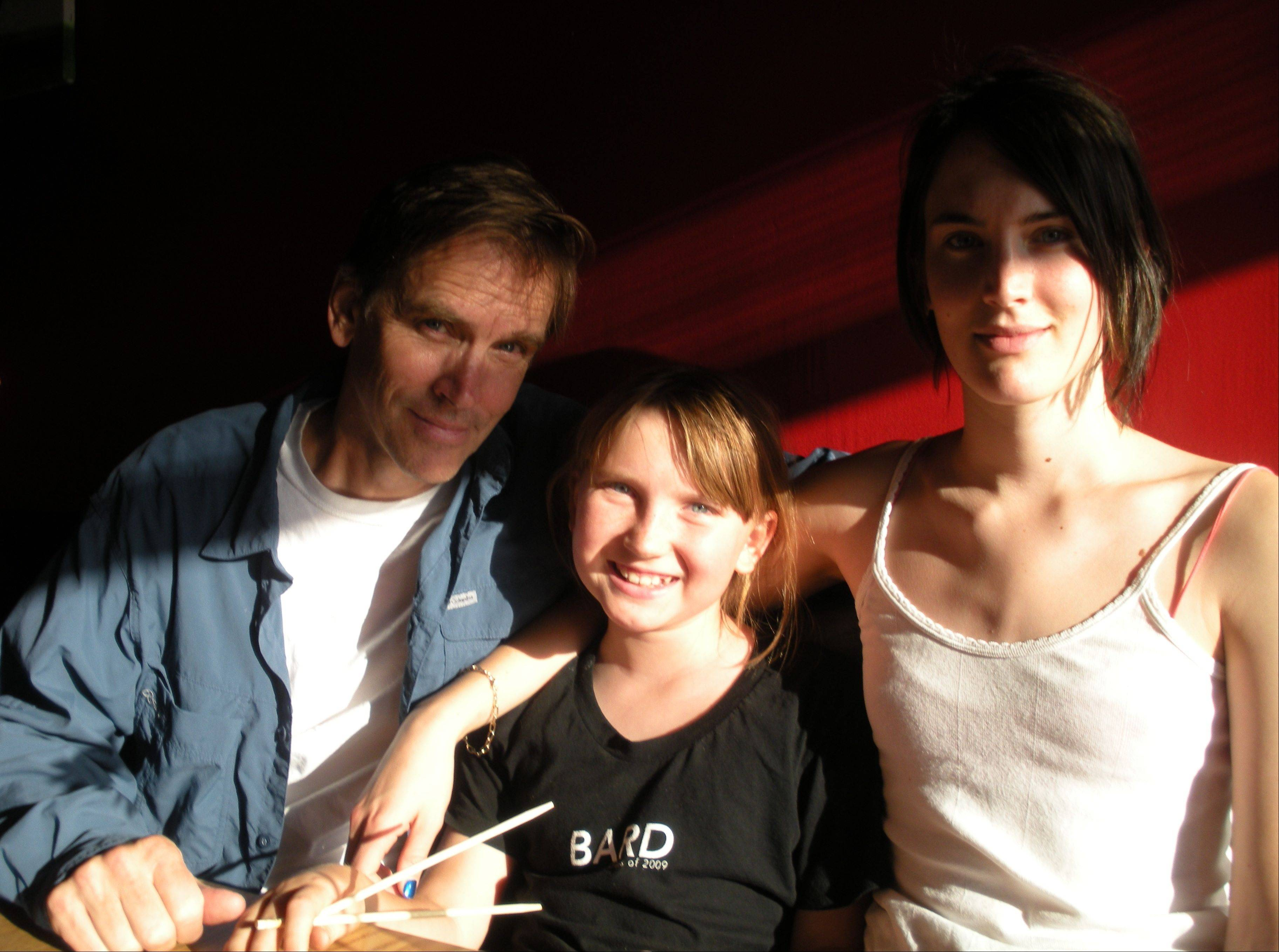 Bill Moseley with his two most personal productions: daughters Marion, center, and Jane Moseley.