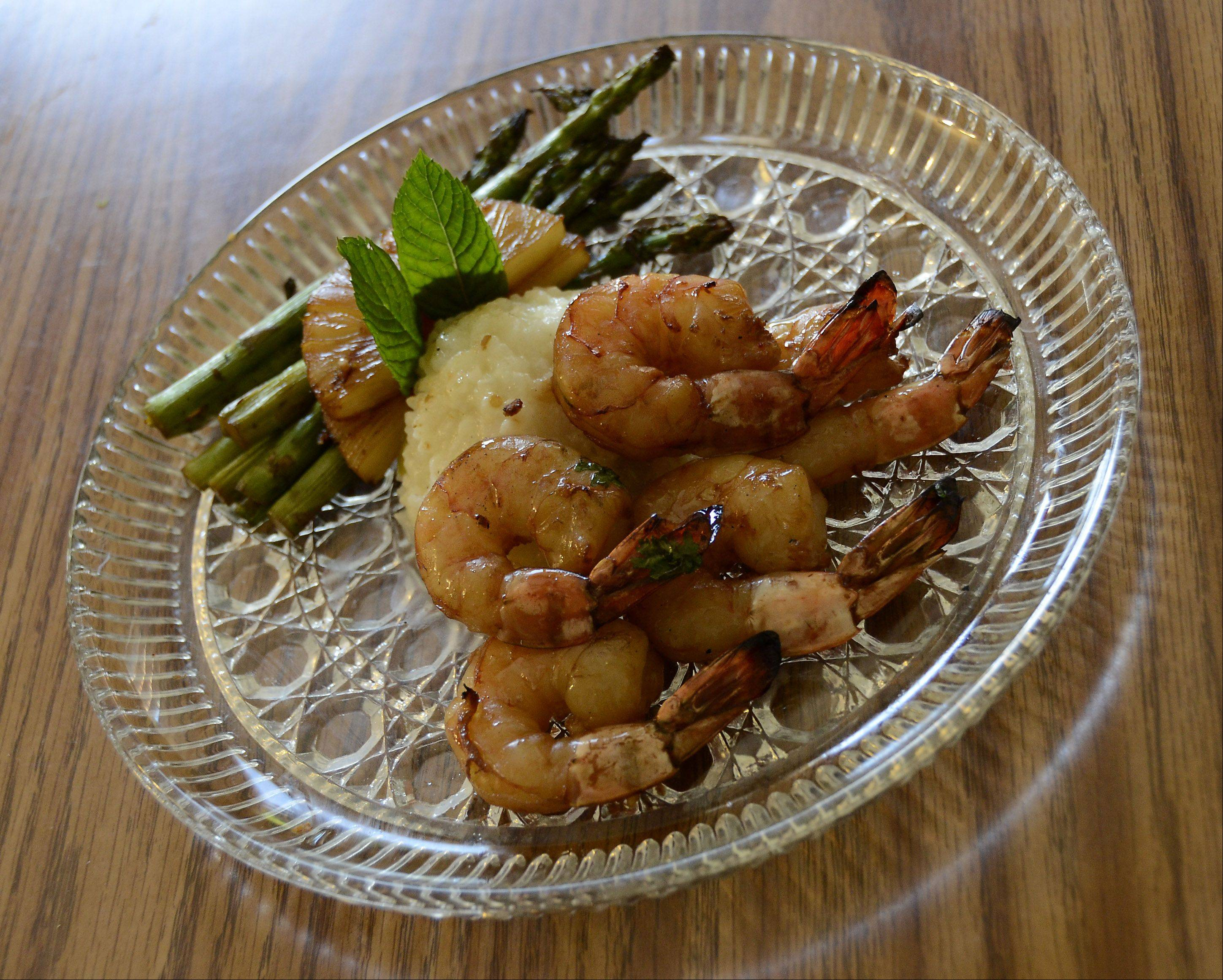 Steven Buchholz serves Grilled Teriyaki Shrimp with asparagus and rice pilaf.