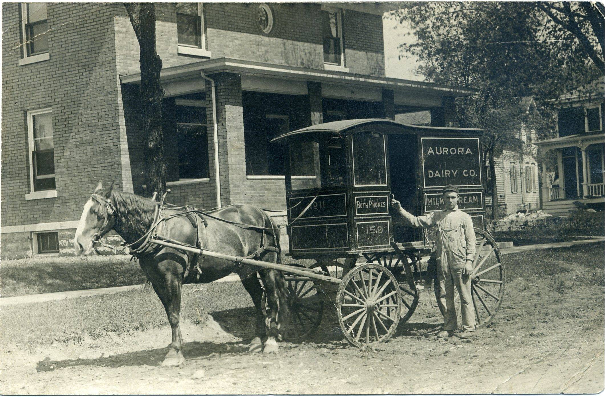 Aurora Dairy Wagon, circa 1910. The Aurora Dairy Company, located at Lake Street and Benton, was Aurora's earliest commercial dairy.