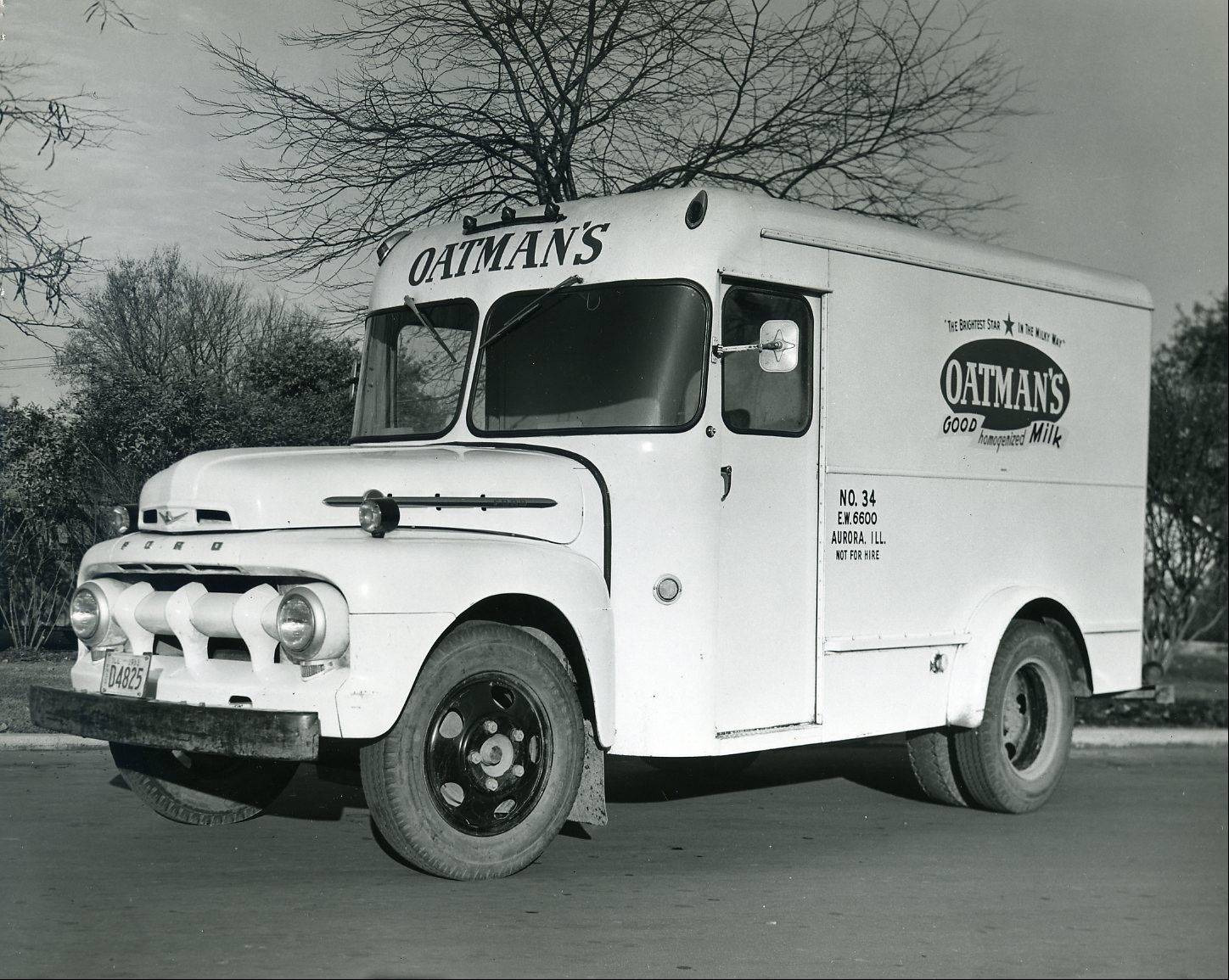 Oatman's Dairy Truck in 1953. By the 1940s, Oatman's had replaced its horse-drawn wagons with motorized trucks.