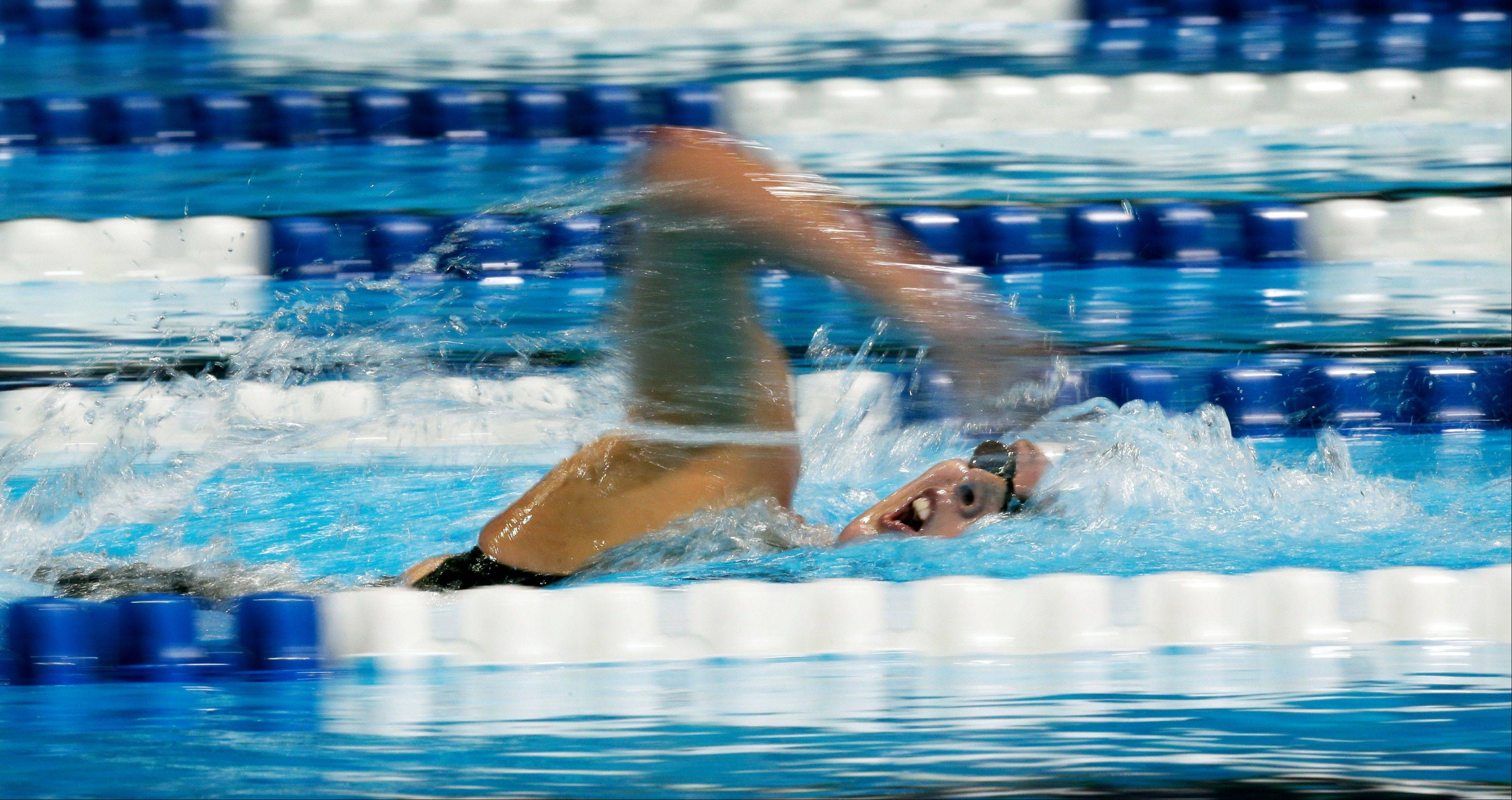 Allison Schmitt swims to victory in the women's 400-meter freestyle final at the U.S. Olympic swimming trials Tuesday.