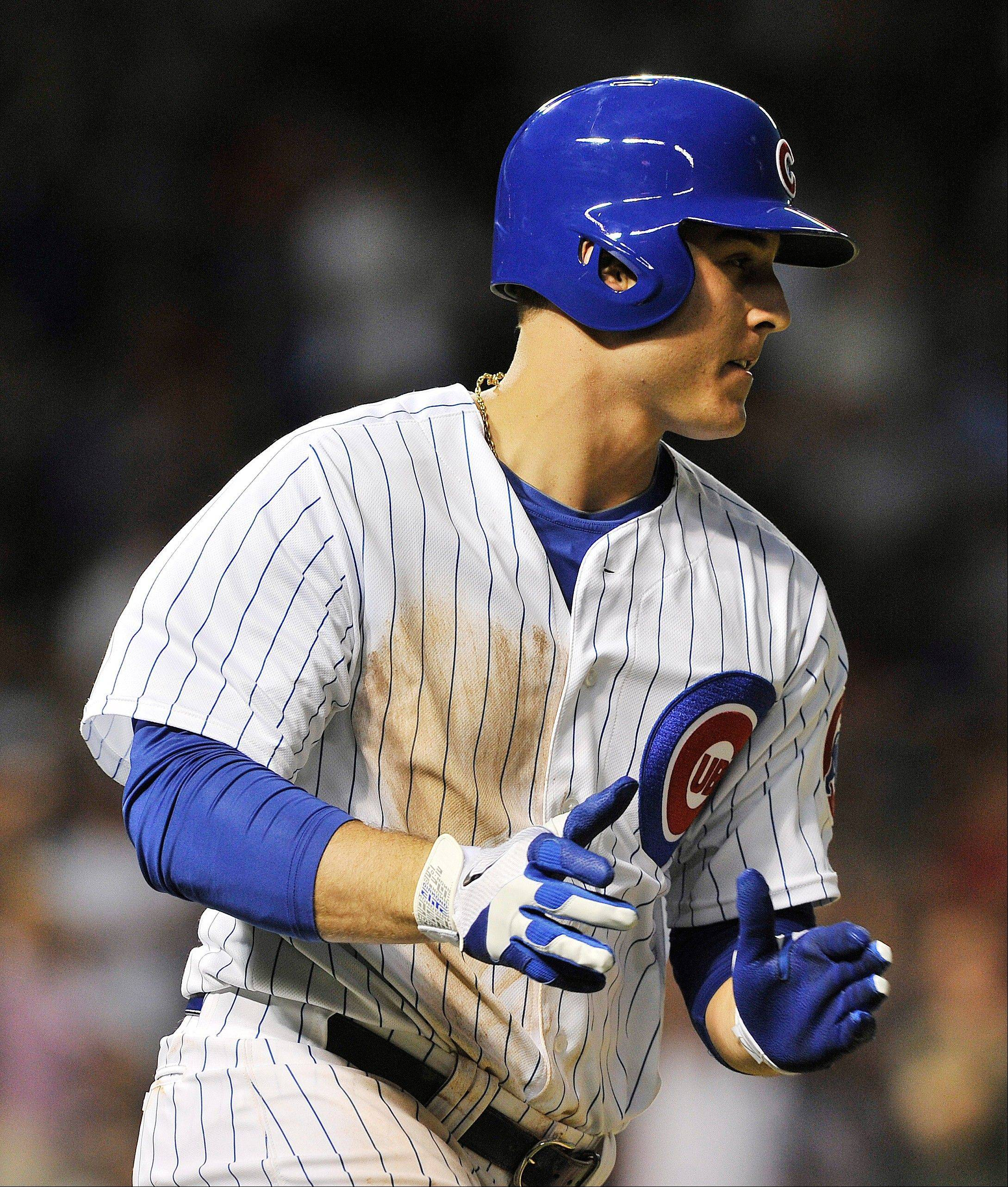 Anthony Rizzo was 2-for-4 in his Cubs debut Tuesday night, driving in the go-ahead run with a double in the fourth inning.