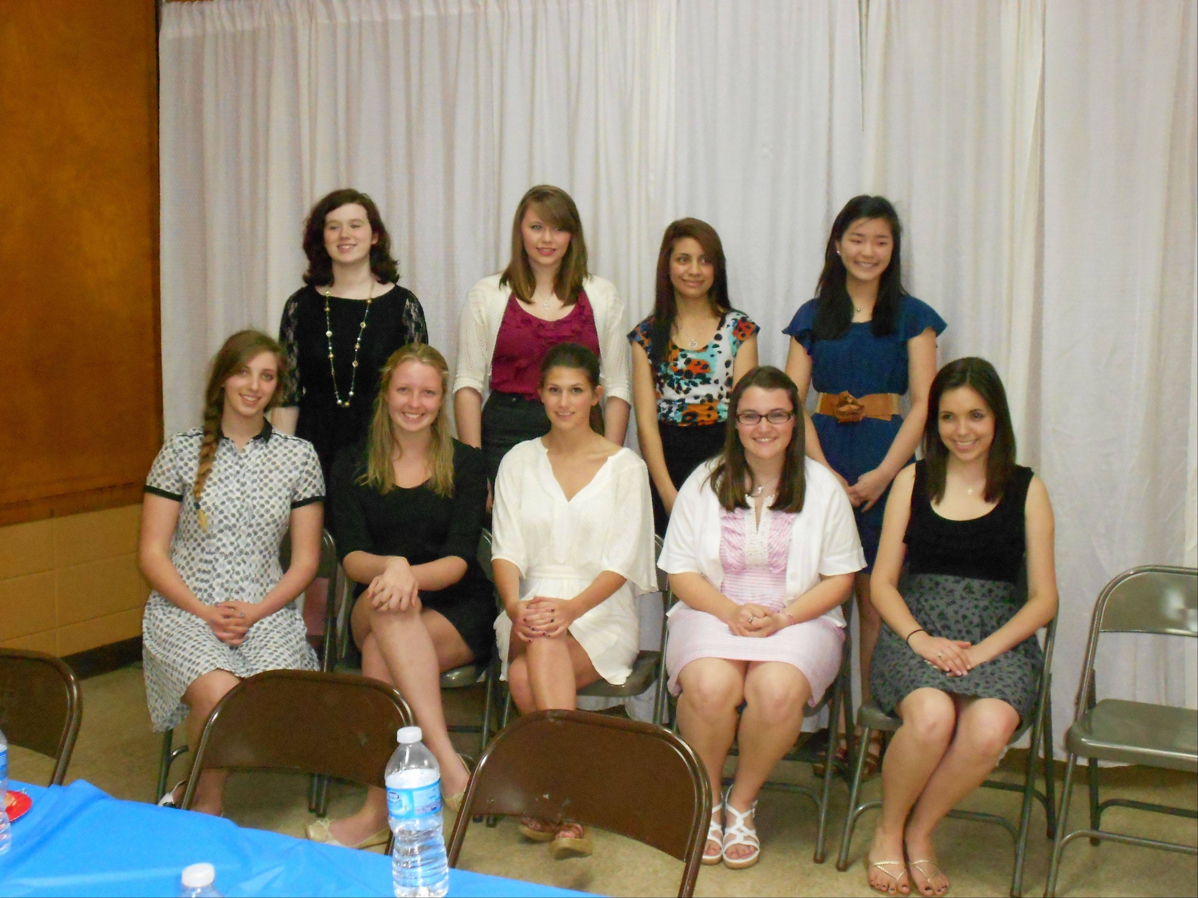 Participants selected to attend the American Legion Girls State program by American Legion Auxiliary-McKinlock Unit 264, Gurnee Unit 771 and Homer Dahringer 281, were, front row: Nina Demet, Emma Eichelman, Claire Dumelle, Kathrine Petersen and Crystal Clanton; back row: Caitlin Purdome, Andrea Potonick, Mariam Echevarria and Emily Jensen.