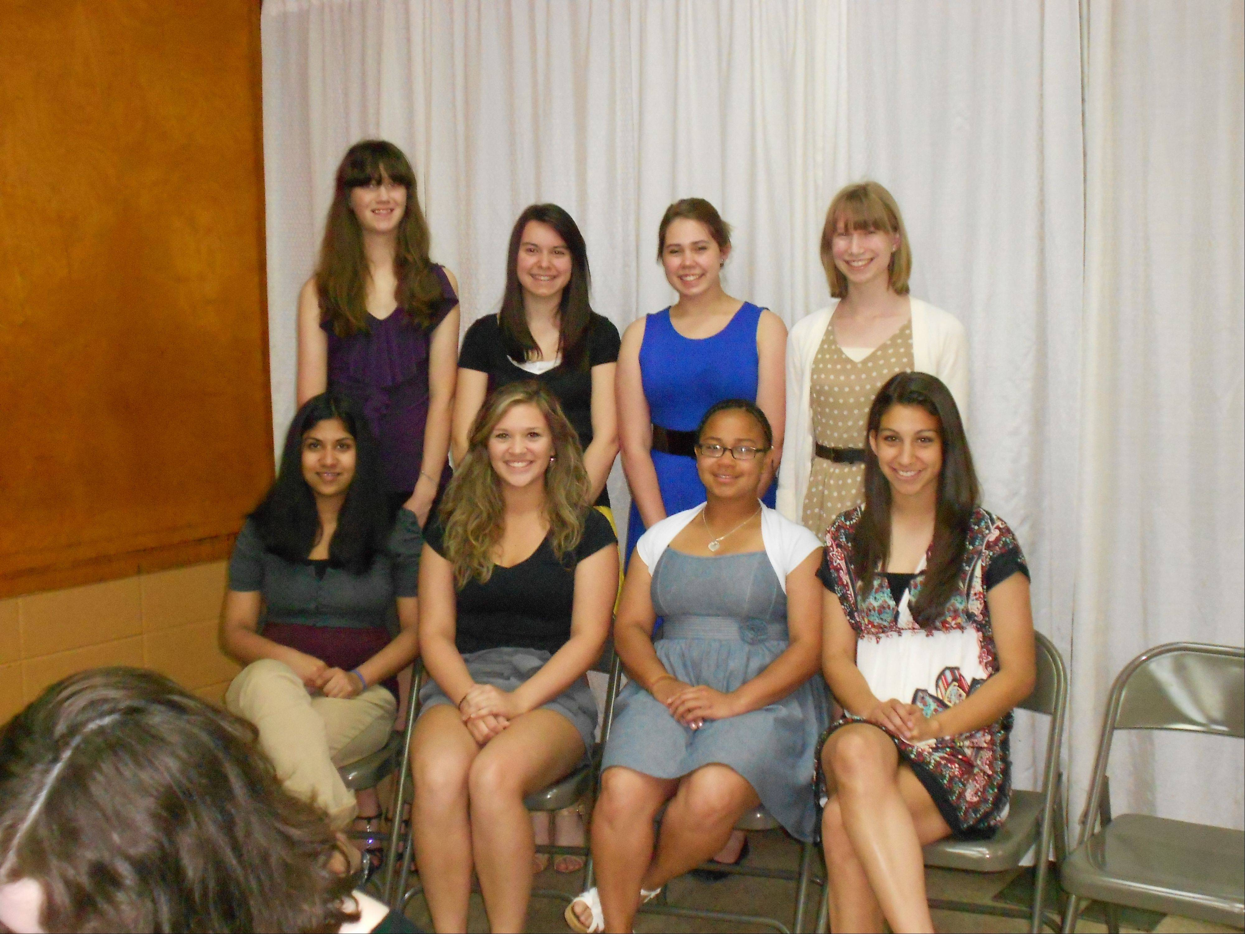 Participants selected to attend the American Legion Girls State program by Lake Region Unit 703, Zion Benton Unit 865 and Wauconda Unit 911 were, front row: Migana Audipudy, Gianna Gigliotte, Destiny Harrell and Felicia Menon; back row: Danielle Von Helms, Olga Krapivner, Adelle McDaniel and Shealeign Funni.