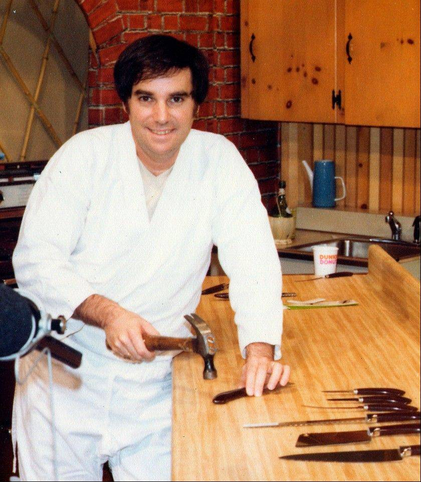 In this 1978 photo, Barry Becher is seen at a studio using a hammer on a Ginsu knife. Becher, a marketing mastermind and infomercial pioneer best known for bringing Ginsu knives to the American public, died of complications from surgery. He was 71.